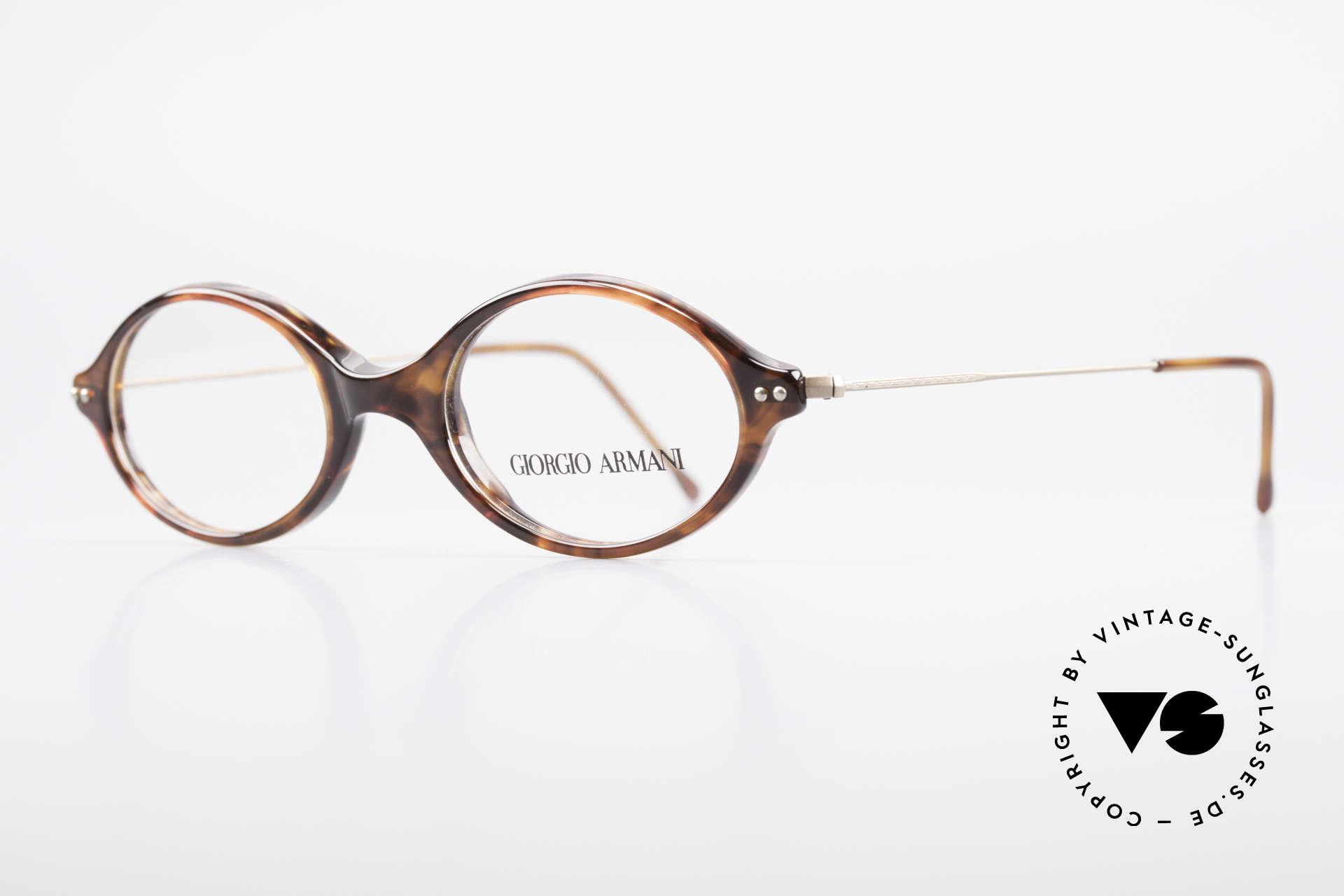 Giorgio Armani 378 90er Unisex Brille Oval, Kunststoff-Front mit fein verzierten Draht-Bügeln, Passend für Herren und Damen