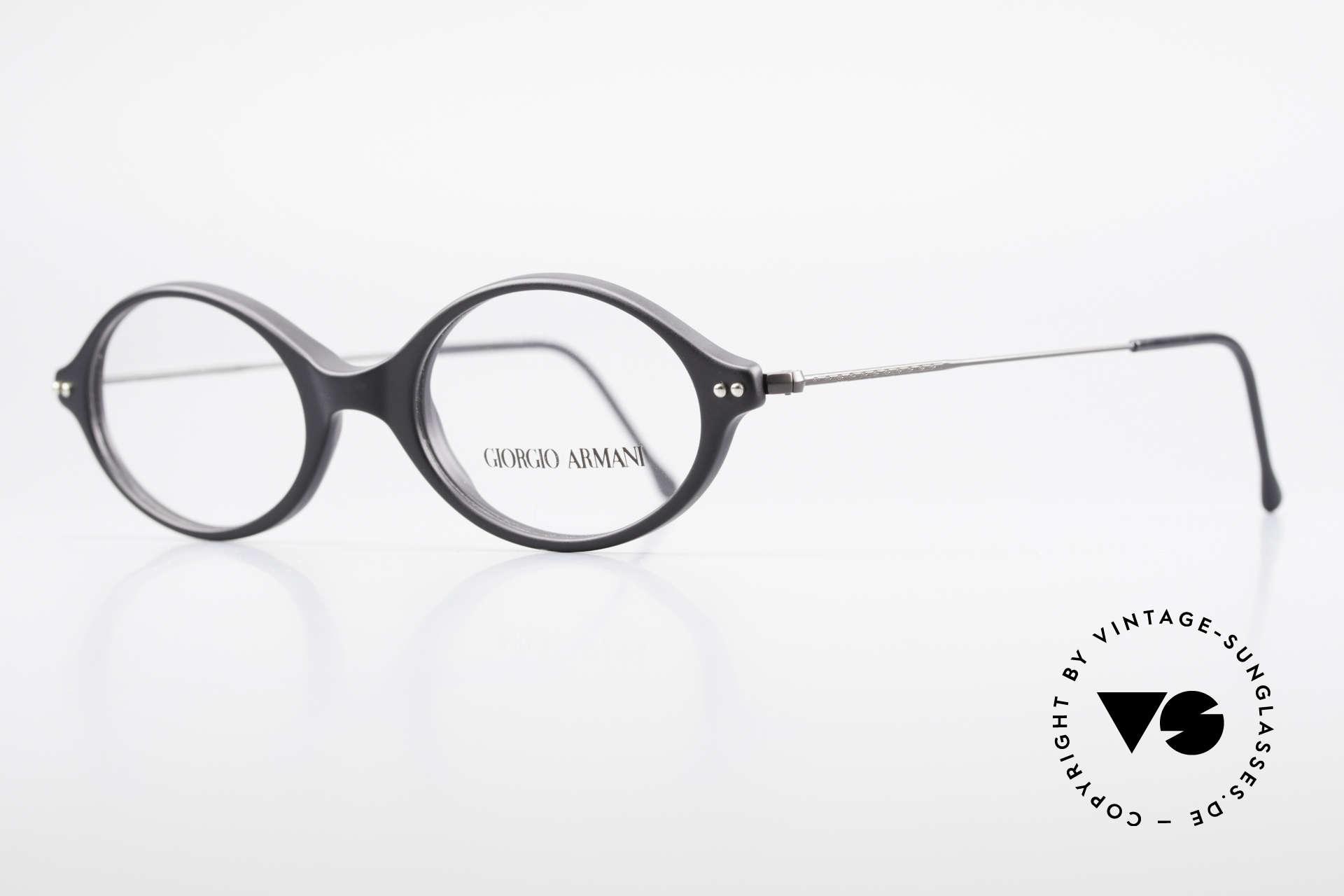 Giorgio Armani 378 90er Unisex Fassung Oval, Kunststoff-Front mit fein verzierten Draht-Bügeln, Passend für Herren und Damen