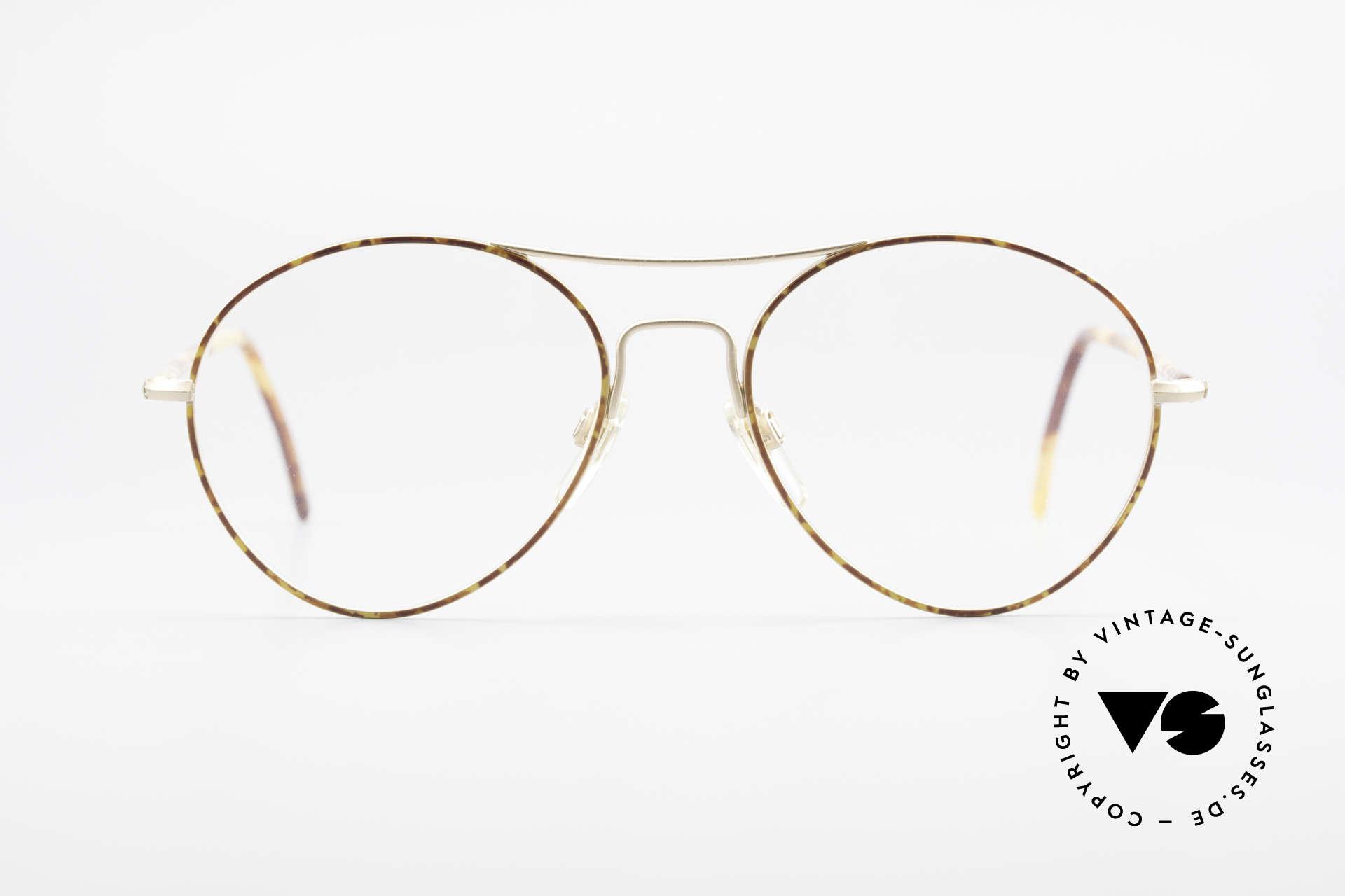 Giorgio Armani 120 Vintage Aviator Brille Herren, matt-goldener Rahmen & Muster in Kastanienbraun, Passend für Herren