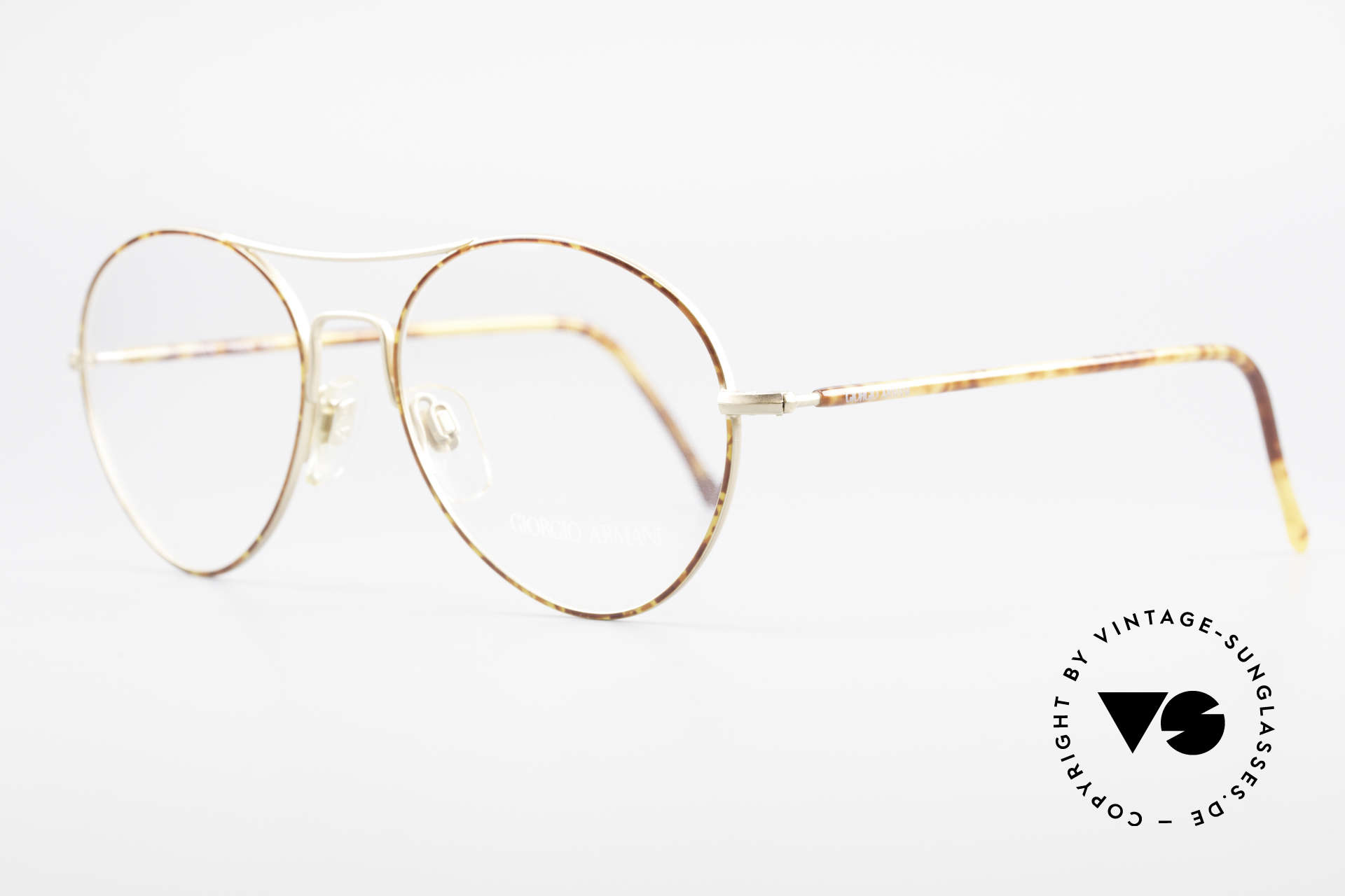 Giorgio Armani 120 Vintage Aviator Brille Herren, leichtgewichtiges Material und orig. Demo-Gläser, Passend für Herren