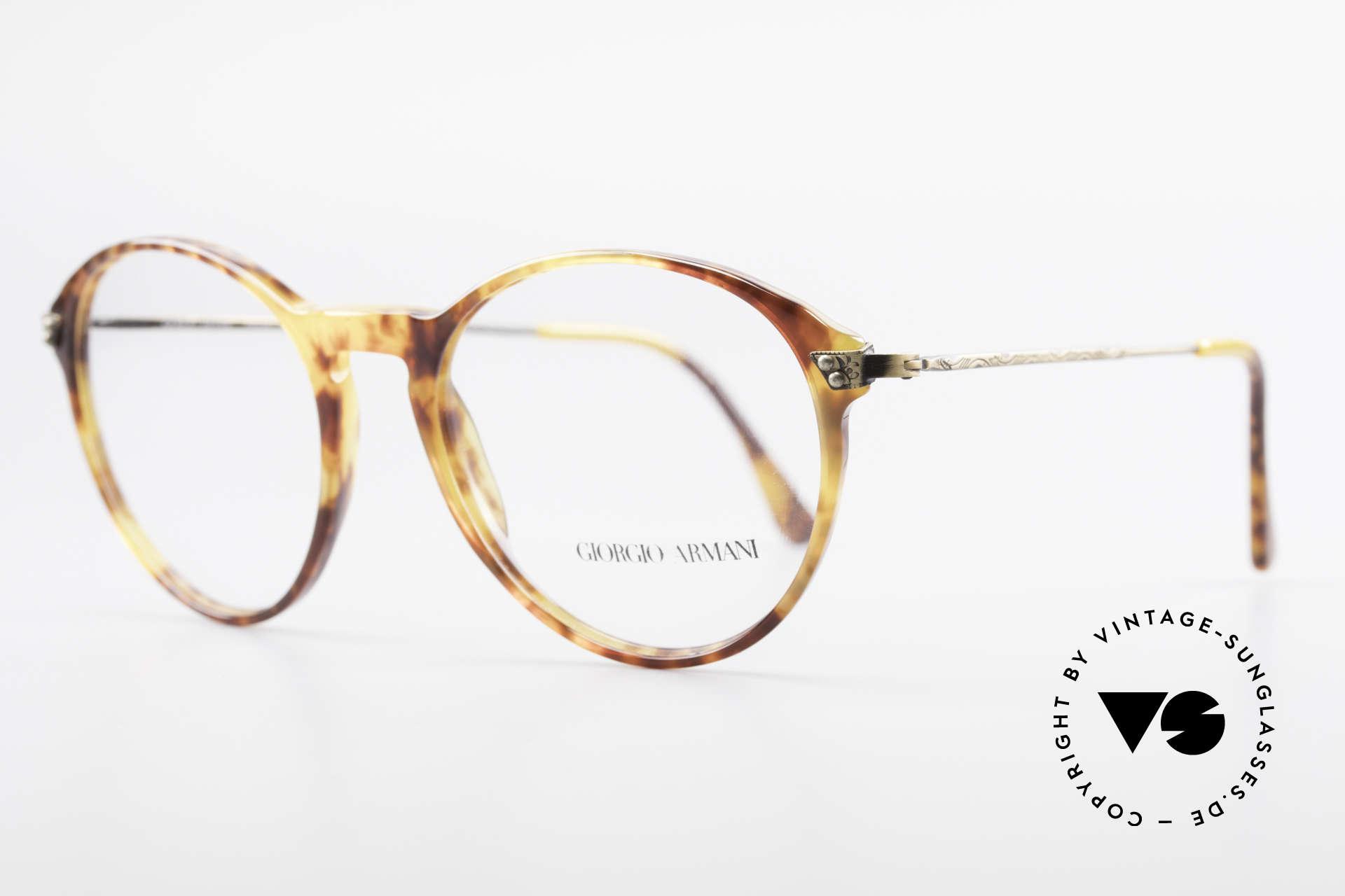 Giorgio Armani 329 90er Panto Fassung Medium, Front in Schildpatt-Optik mit edlen Messing Bügeln, Passend für Herren