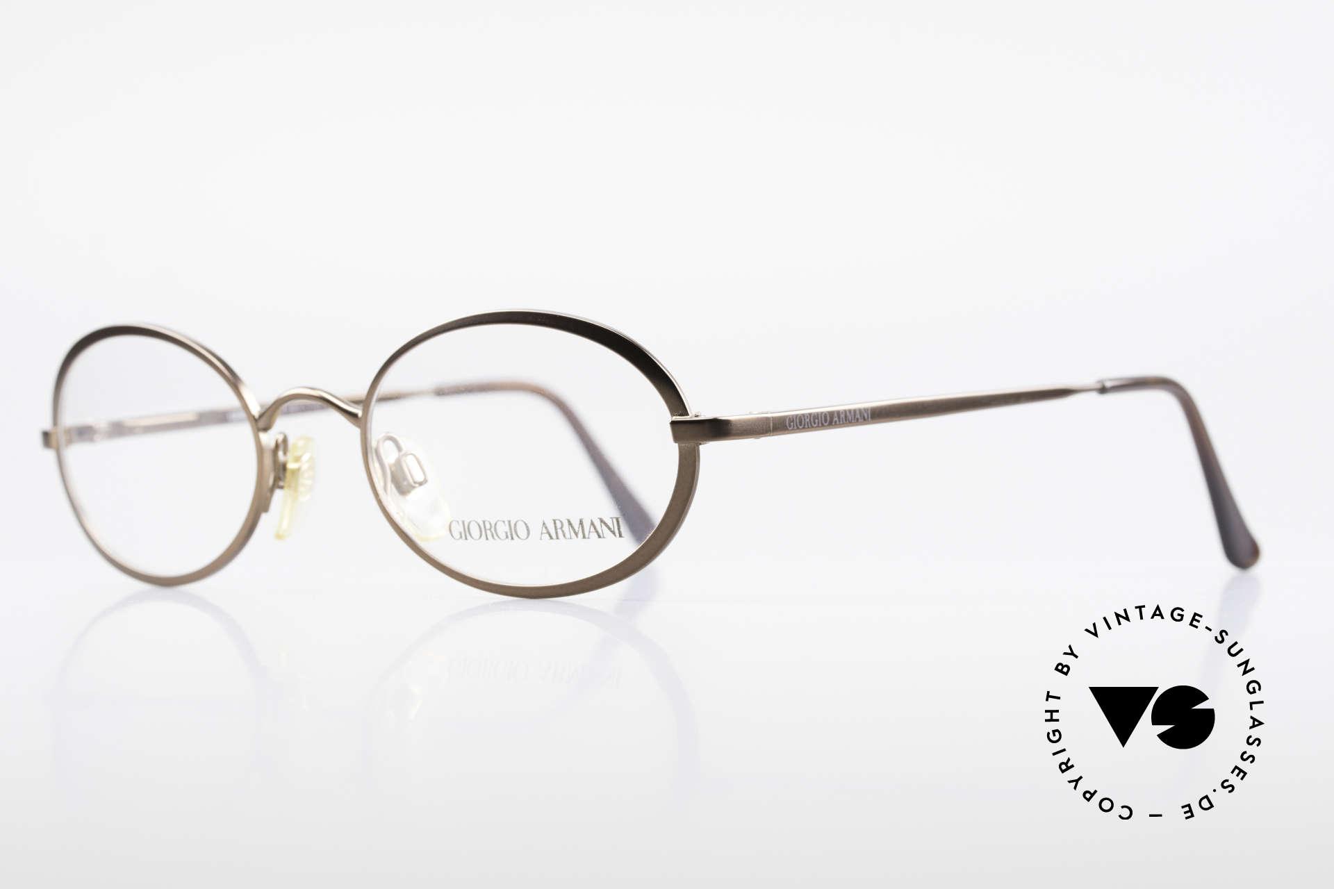 Giorgio Armani 277 90er Vintage Fassung Oval, bronze/braune Lackierung & flexible Federscharniere, Passend für Herren und Damen