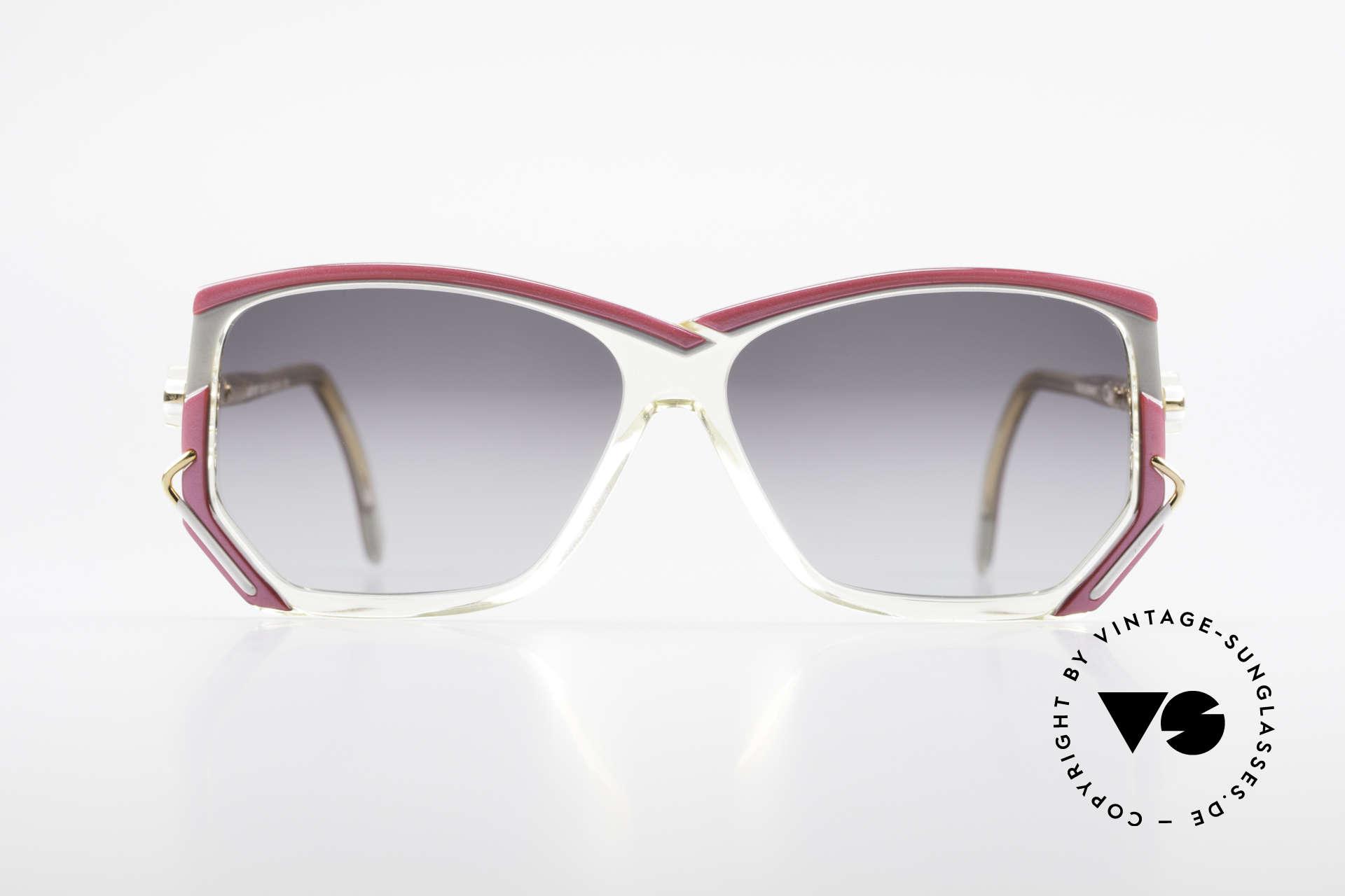 Cazal 197 80er Vintage Sonnenbrille, transparenter Rahmen mit tollen Farbkompositionen, Passend für Damen