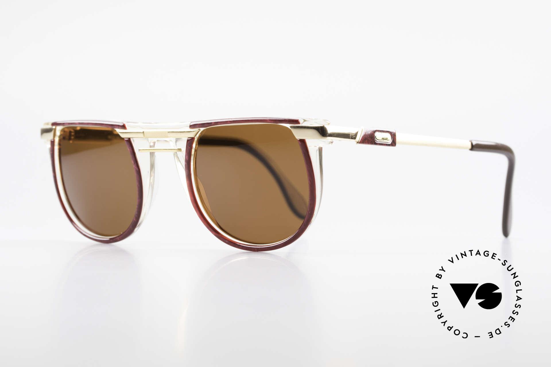 Cazal 647 90er Vintage Sonnenbrille, geniale Kombination v. Farben/Formen/Materialien, Passend für Herren und Damen