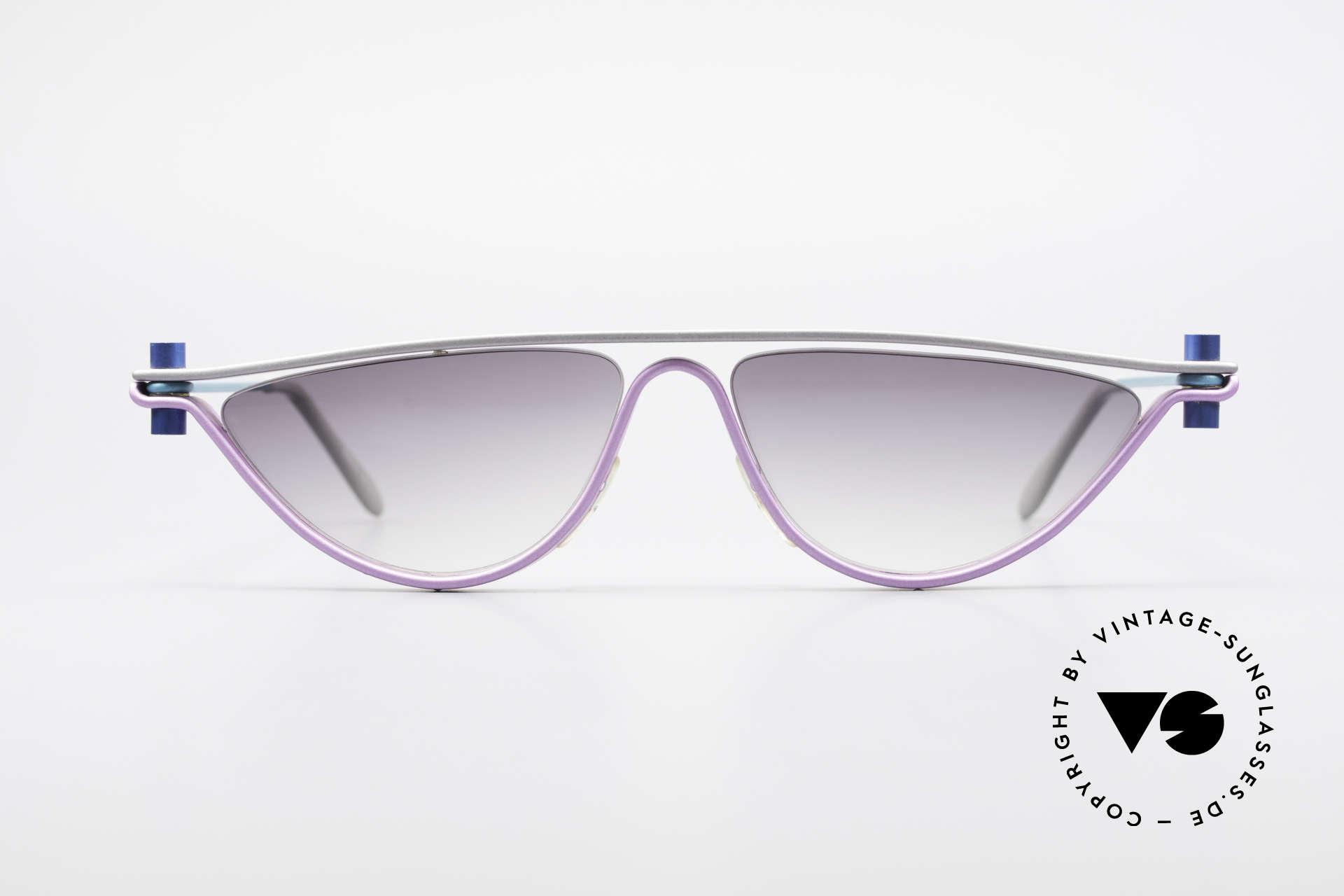 ProDesign No6 90er Vintage Filmsonnenbrille, vintage Aluminium Fassung im Gail Spence Design, Passend für Damen