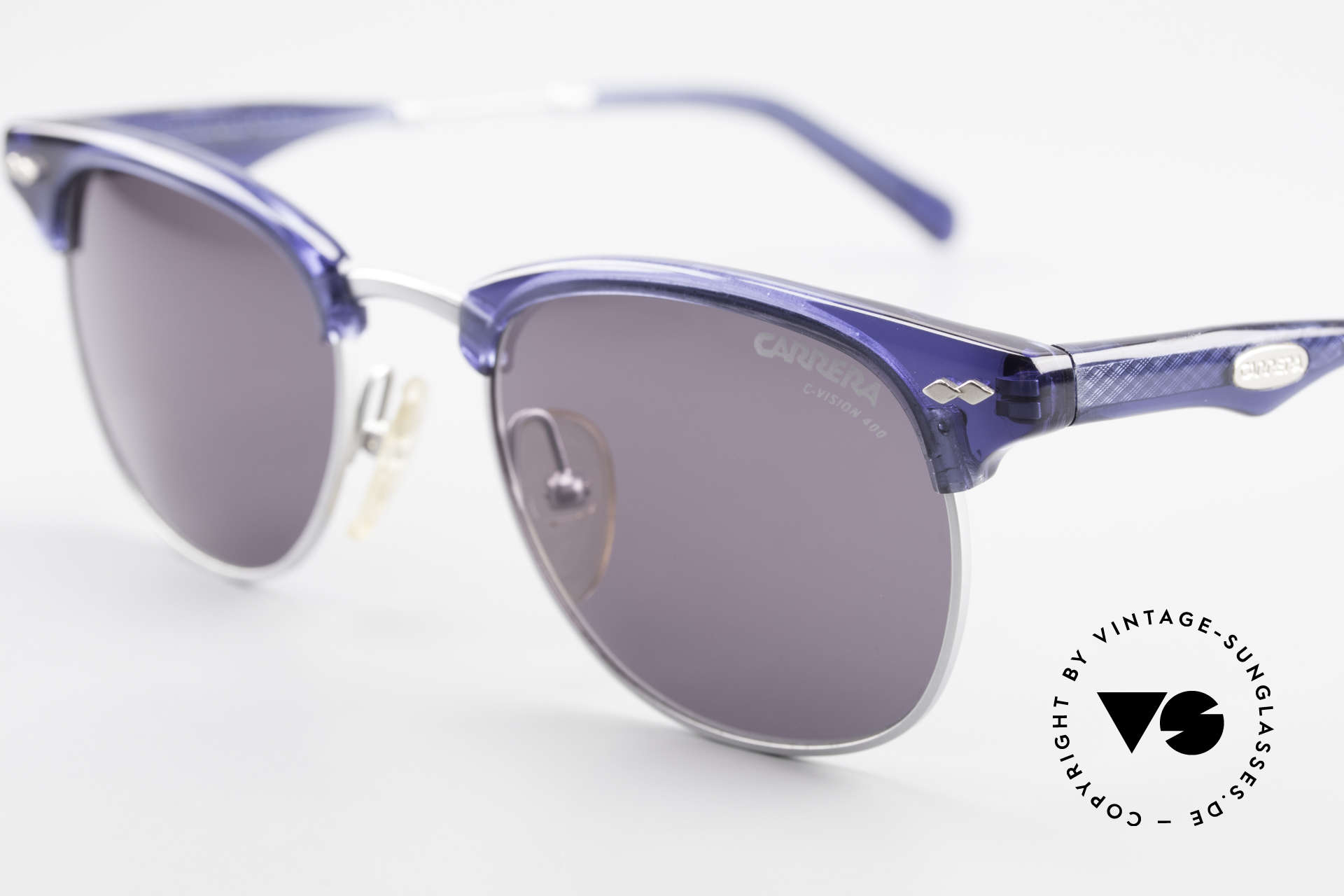 Carrera 5324 Vintage Panto Sonnenbrille, elegante Gläser (C-VISION 400) für 100% UV Schutz, Passend für Herren
