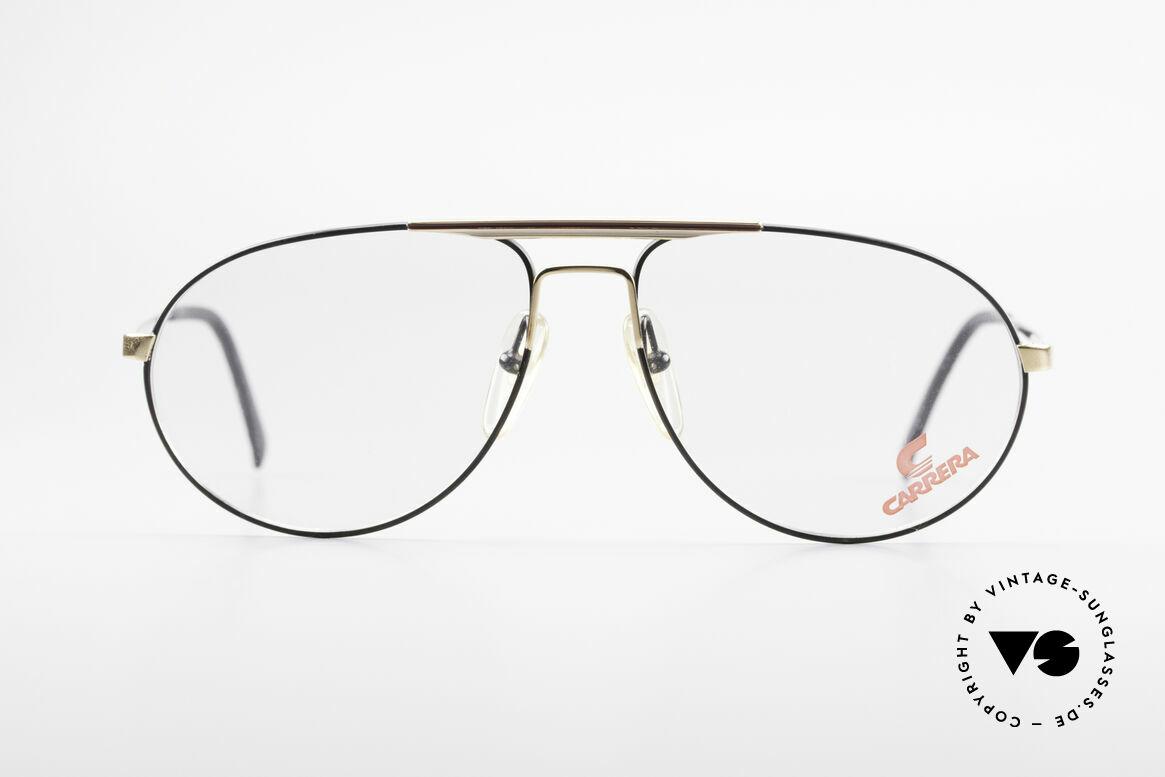 Carrera 5340 Vintage Aviator Brille No Retro, Fassung in klassischer schwarz-gold Lackierung, Passend für Herren