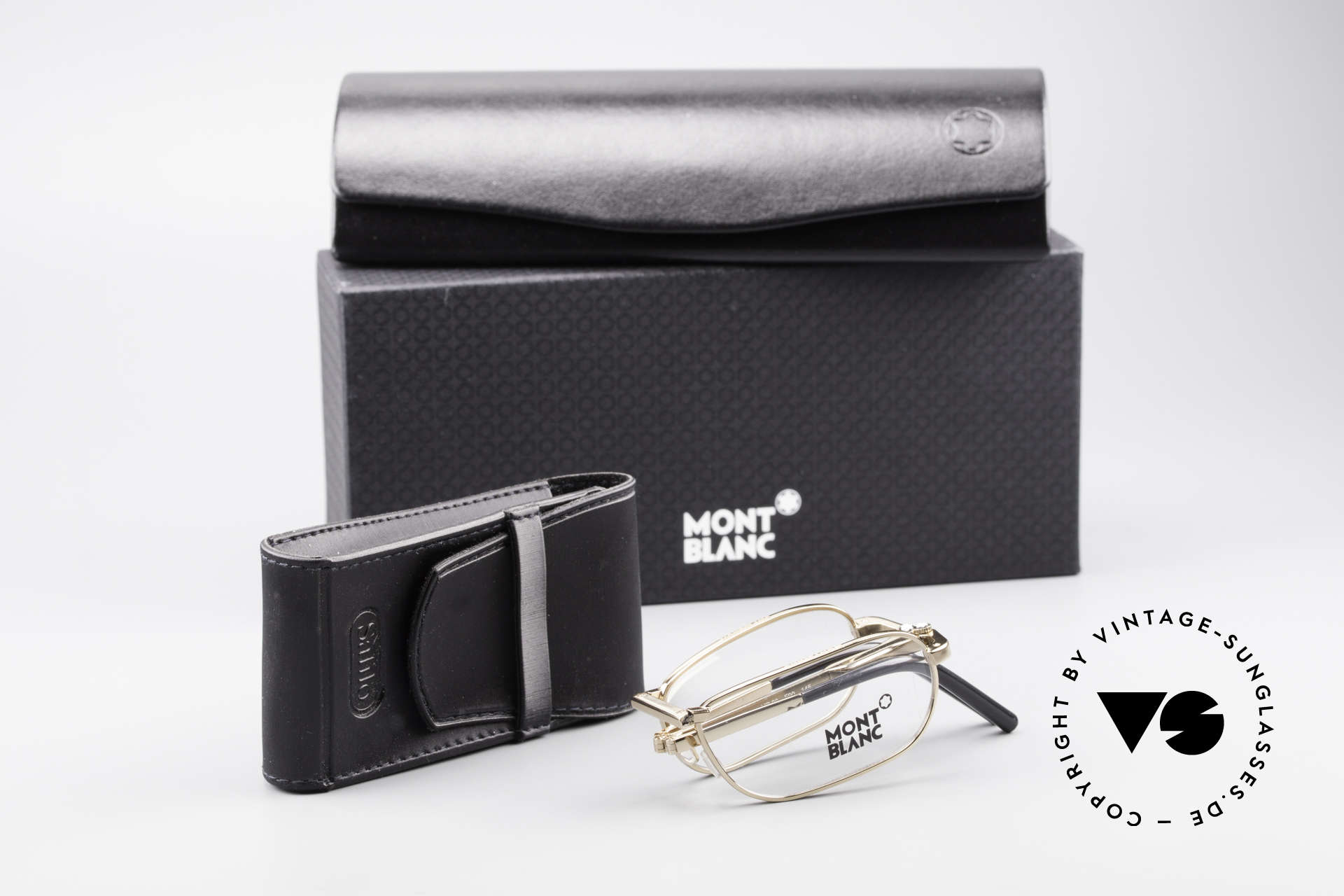 Montblanc MB30 Folding Vergoldete Luxus Faltbrille, Größe: small, Passend für Herren