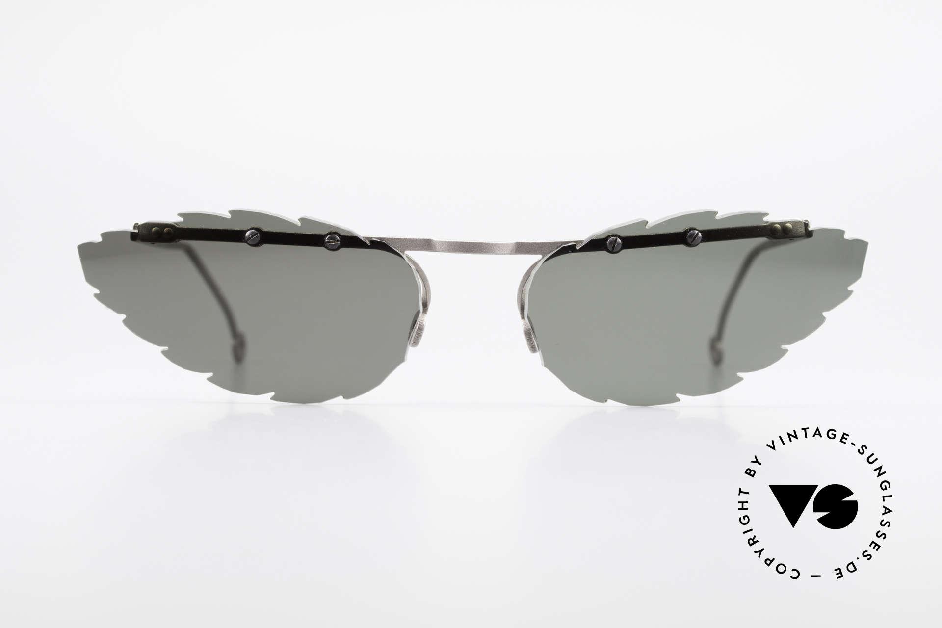 Theo Belgium Asis Sonnengläser wie ein Blatt, in 1989 gegründet als 'ANTI MAINSTREAM' Brillenmode, Passend für Herren und Damen
