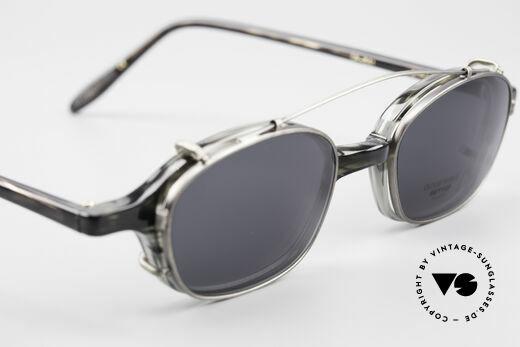 Oliver Peoples OP561 Vintage 90er Brille Mit Clip, Qualitätsfassung kann beliebig optisch verglast werden, Passend für Herren und Damen
