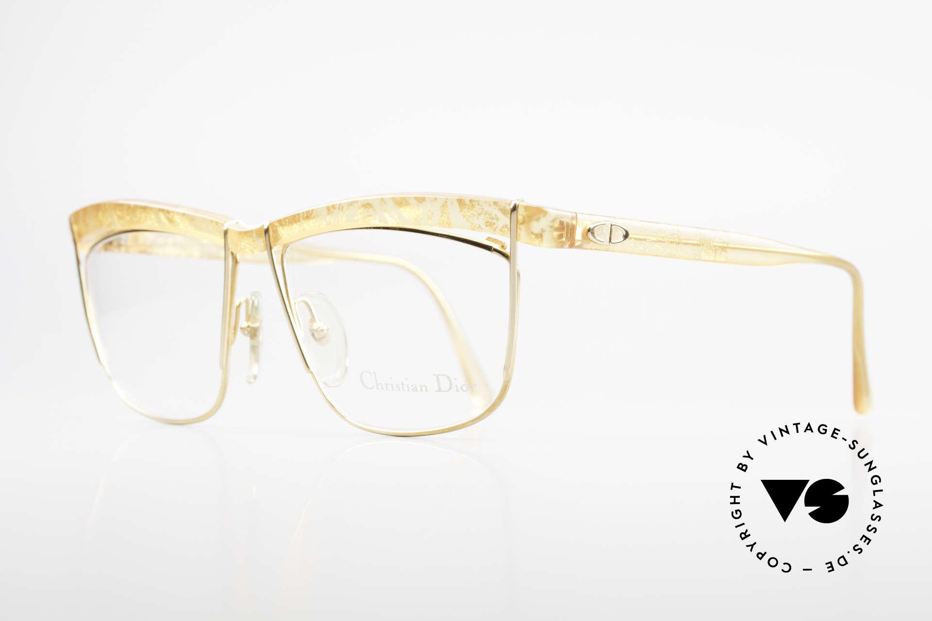 Christian Dior 2552 90er Vintage Brille Damen, tolle Kombination v. Formen/Muster/Materialien, Passend für Damen