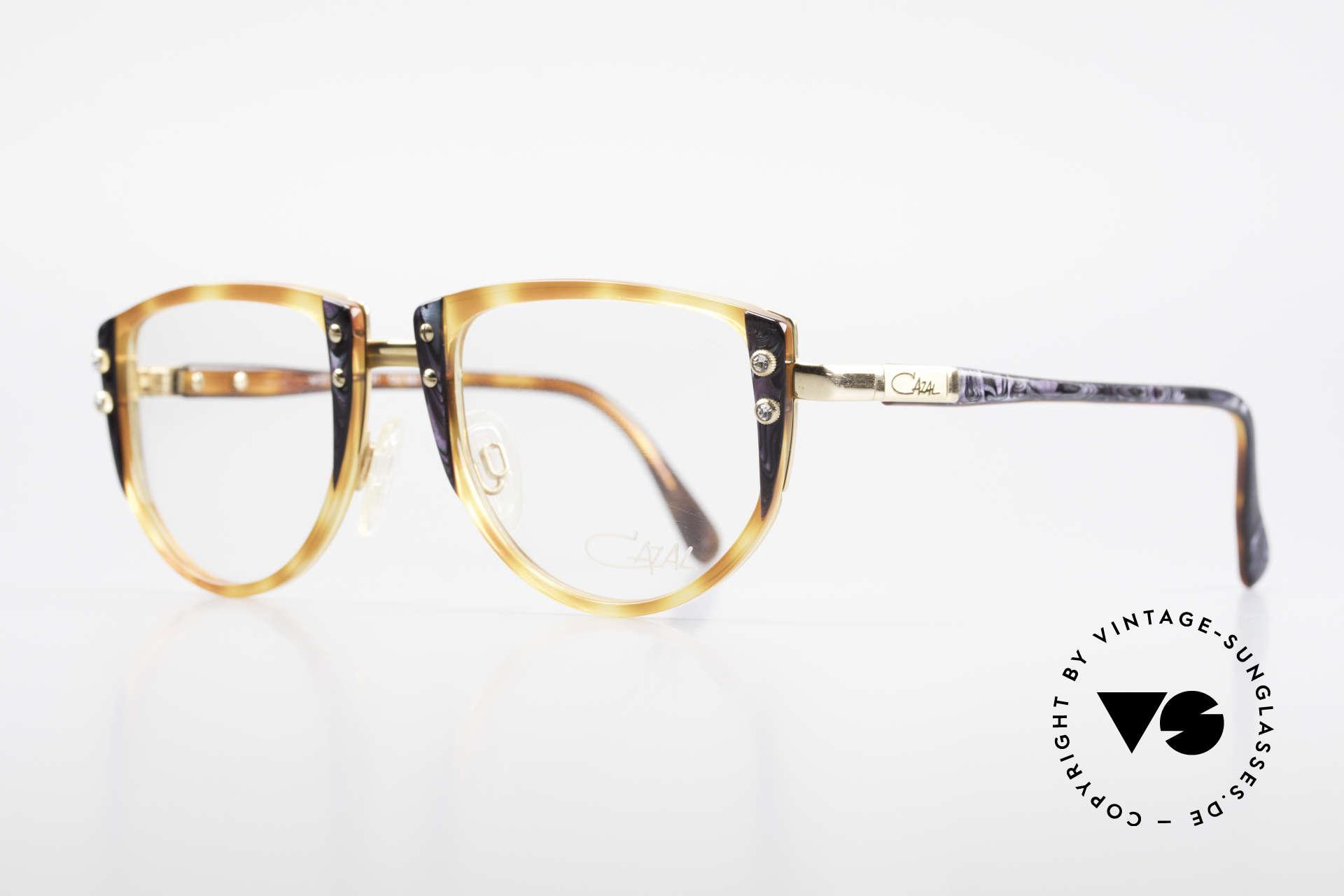 Cazal 332 90er Vintage Cazal Brille OG, Zierschrauben mit kleinen Strass-Steinen besetzt, Passend für Damen
