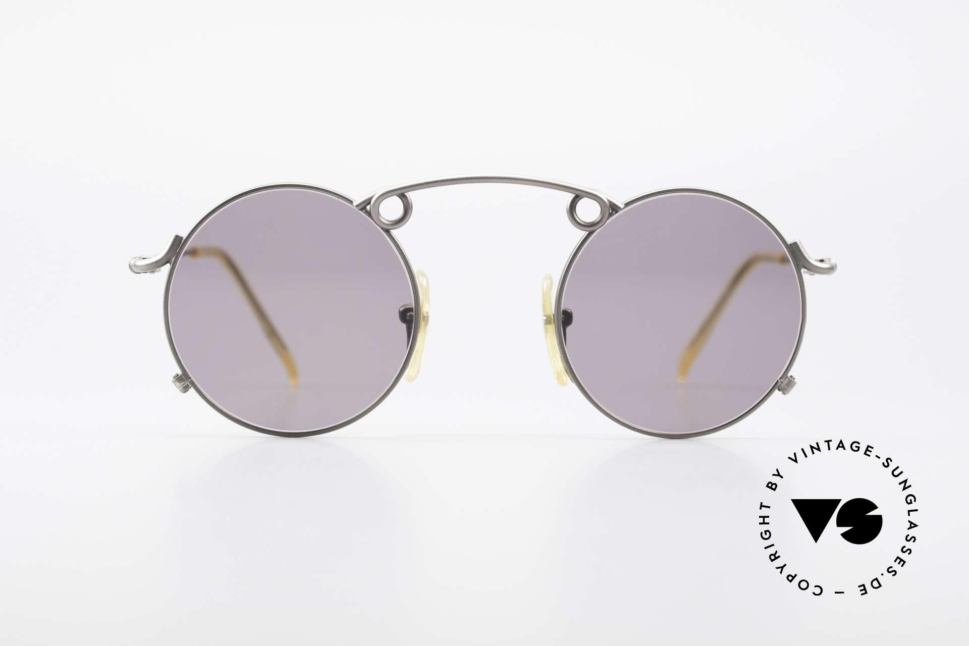 Jean Paul Gaultier 56-1178 Kunstvolle Panto Sonnenbrille, feiner, schwungvoller Rahmen mit markanter Brücke, Passend für Herren und Damen