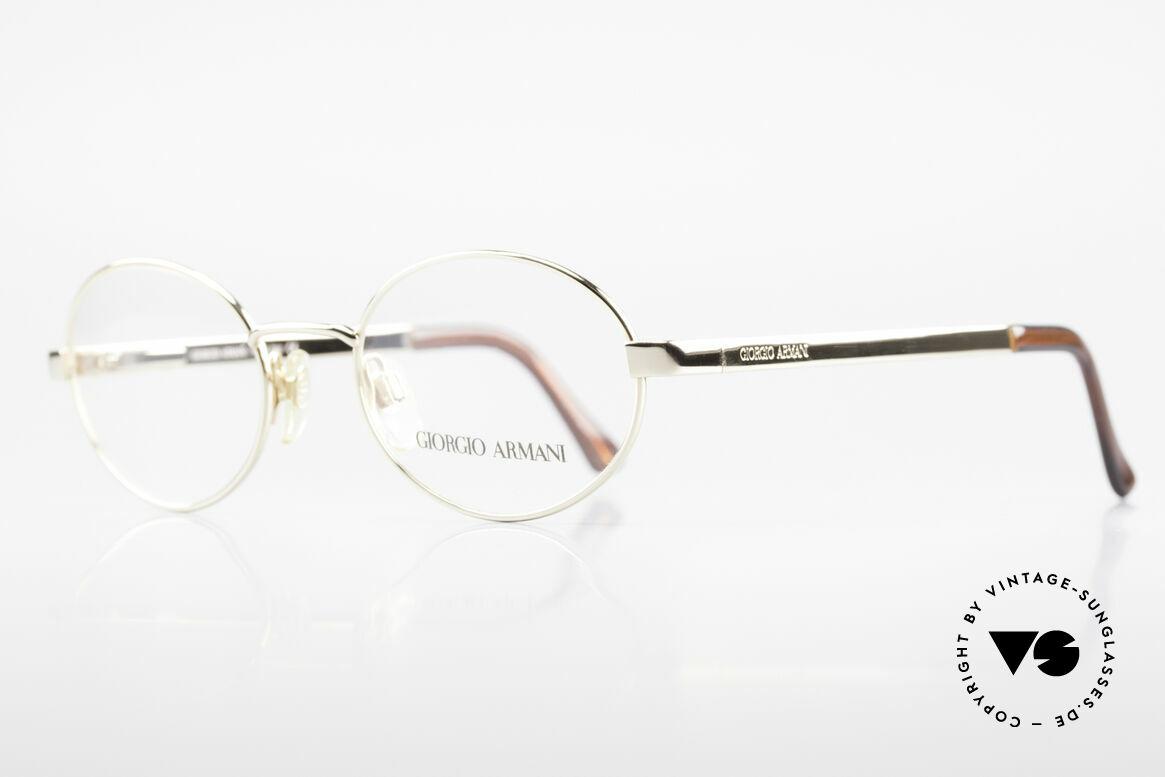 Giorgio Armani 257 Designerbrille Oval Vintage, klassische Gold-Lackierung + flexible Federscharniere, Passend für Herren und Damen