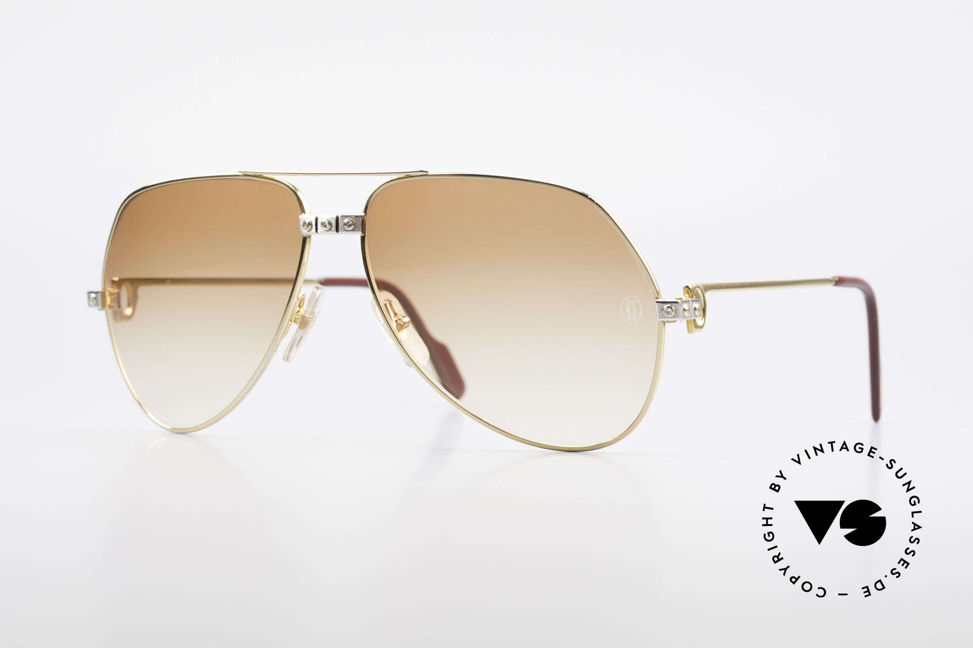 Cartier Vendome Santos - L Luxus Diamanten Sonnenbrille, vintage Cartier Diamanten-Sonnenbrille aus den 80ern, Passend für Herren
