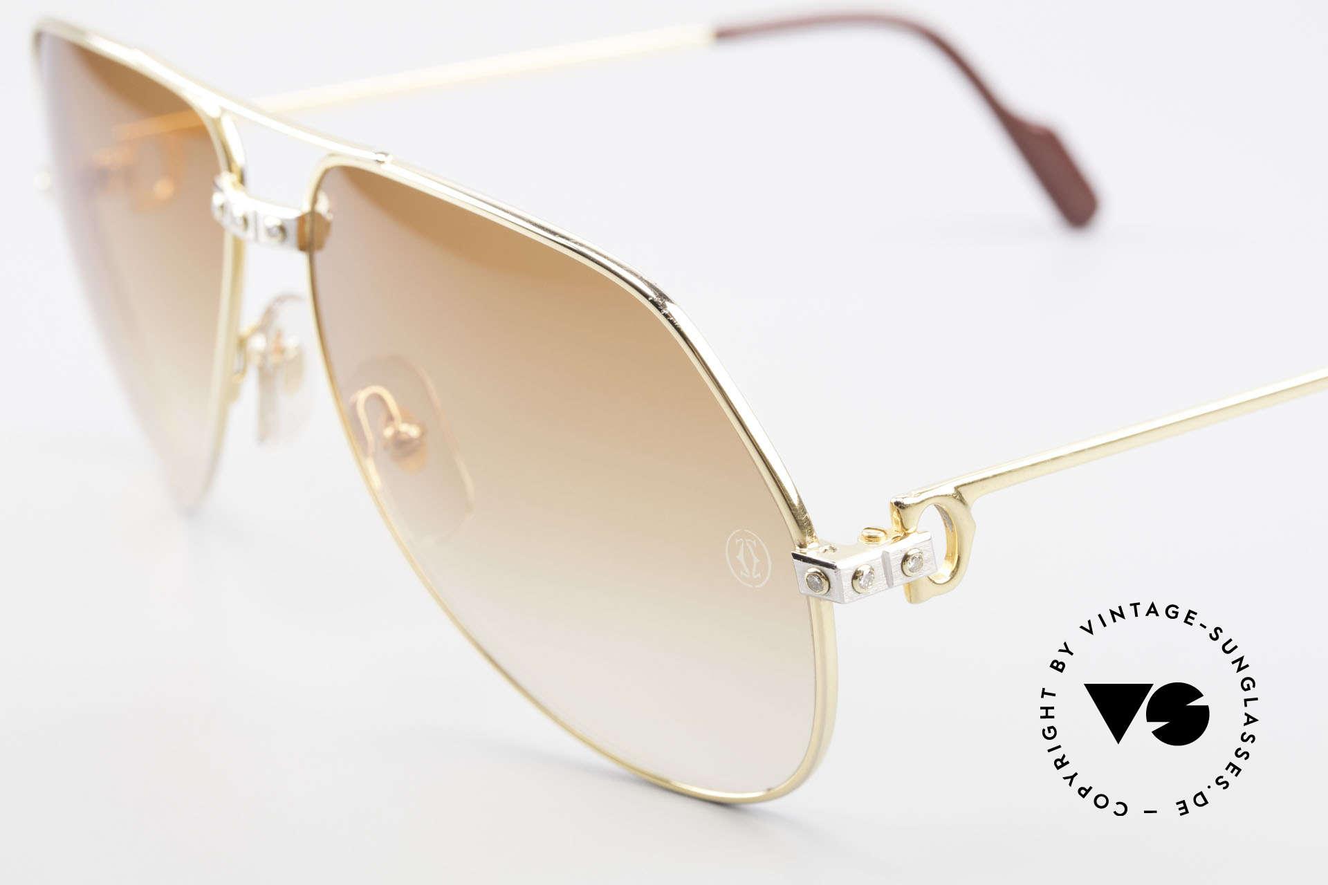 Cartier Vendome Santos - L Luxus Diamanten Sonnenbrille, jeder Diamant ist einzeln gefasst (in Summe ca. 1 Karat), Passend für Herren