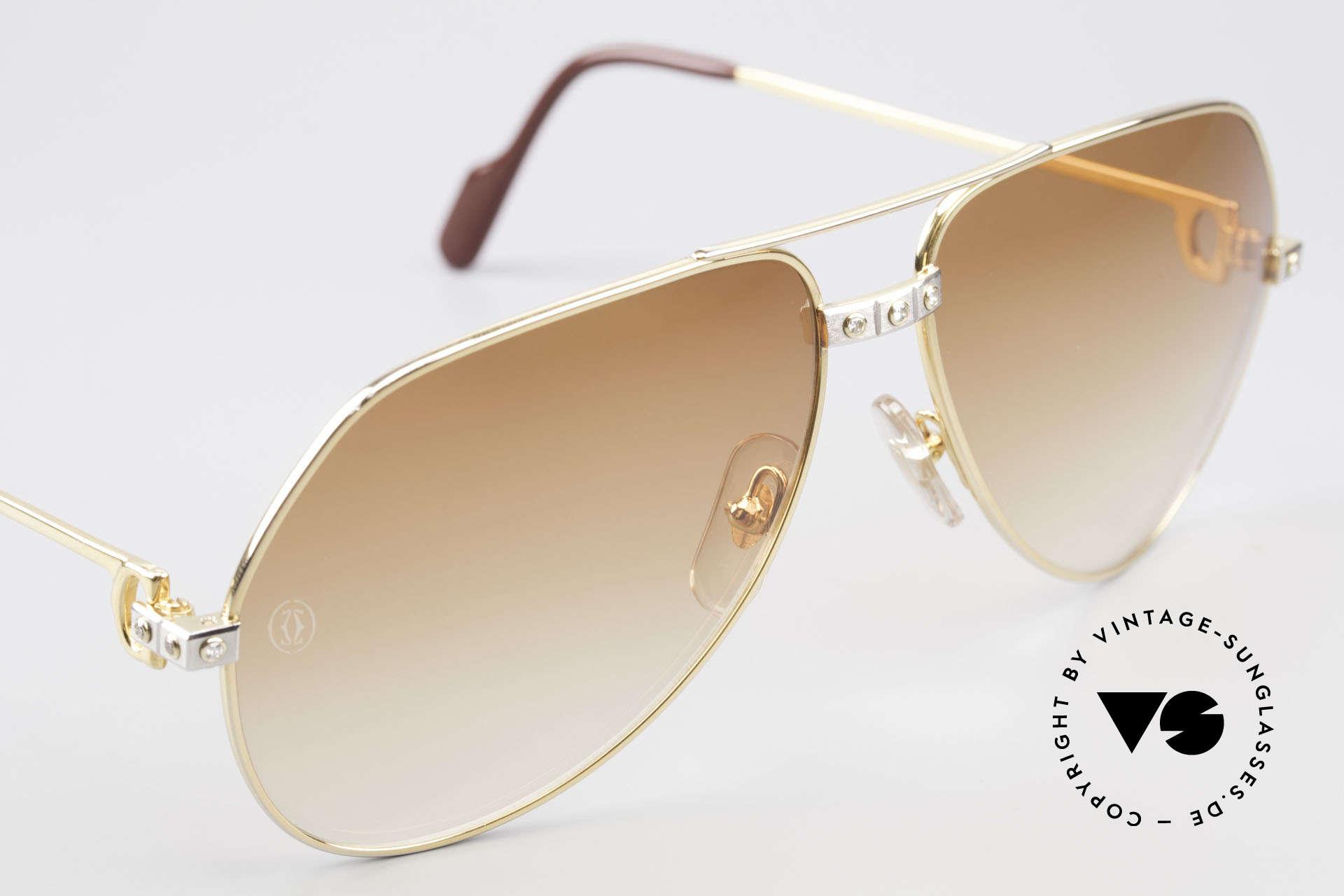Cartier Vendome Santos - L Luxus Diamanten Sonnenbrille, Größe: large, Passend für Herren