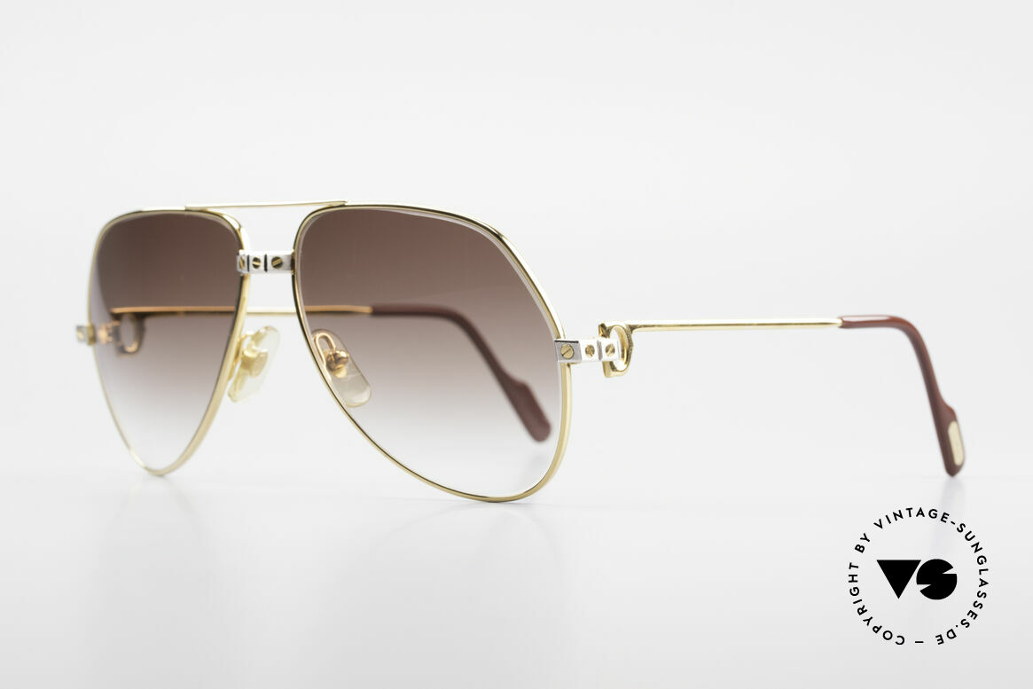 Cartier Vendome Santos - M Luxus Aviator Sonnenbrille, Santos-Dekor (3 Schrauben): Medium Größe 59-14, 140, Passend für Herren und Damen
