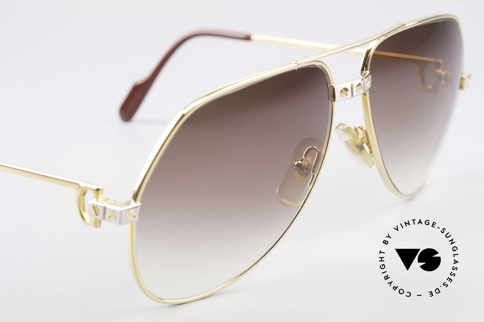Cartier Vendome Santos - M Luxus Aviator Sonnenbrille, neue Sonnengläser in braun-Verlauf für 100% UV Schutz, Passend für Herren und Damen