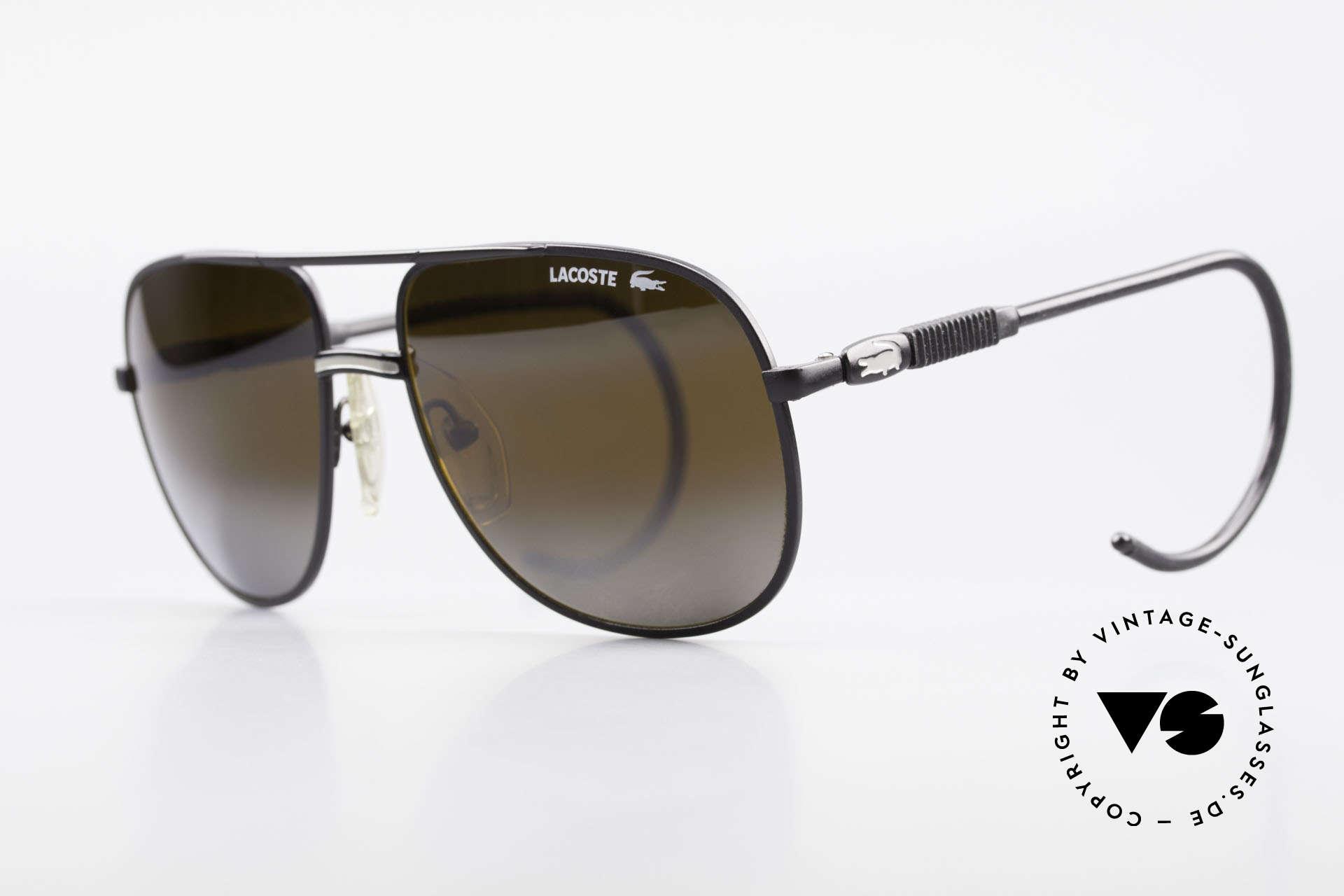 Lacoste 101S Sportliche Aviator Brille XL, in 1980ern produziert und in 90ern nochmal modifiziert, Passend für Herren