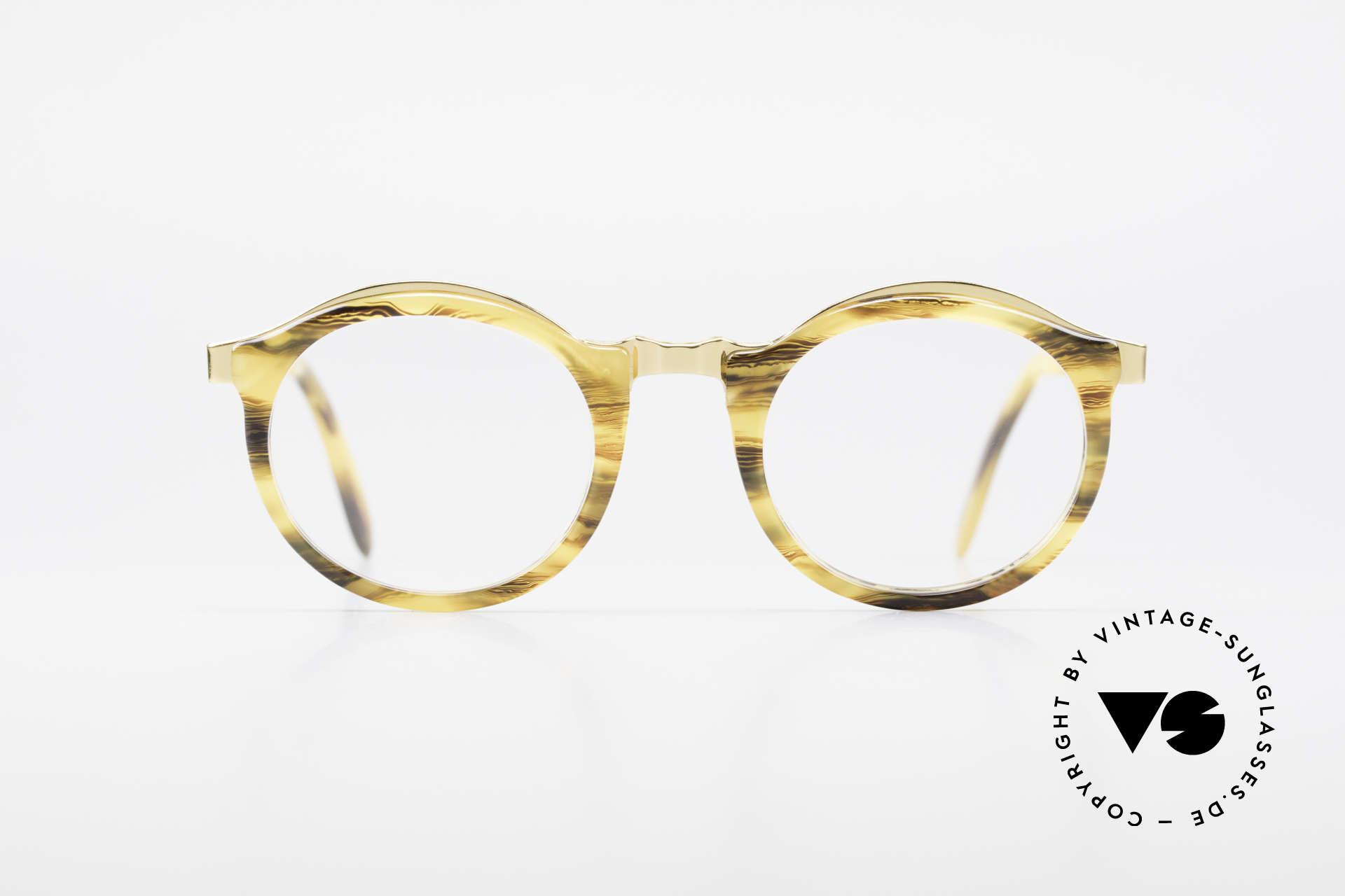 Persol Ivy Gold Plated Panto Brille Small, edles Panto-Design mit grandiosem Rahmenmuster, Passend für Herren und Damen