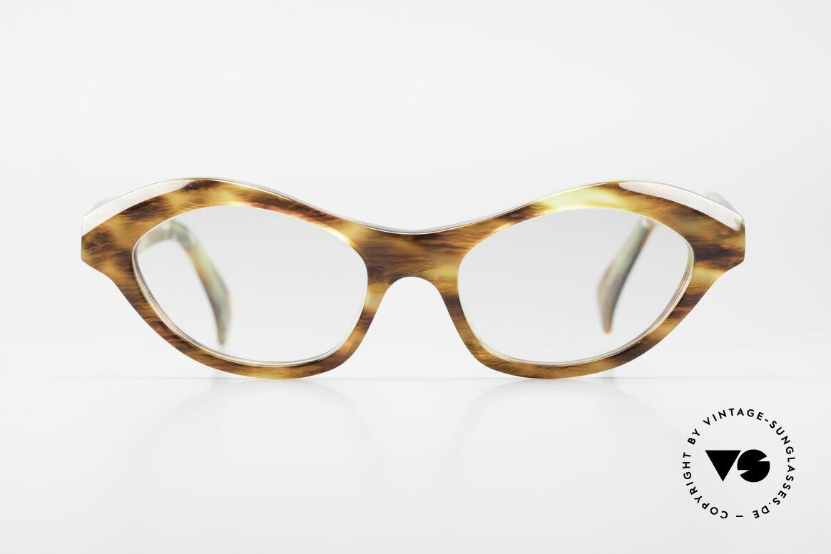 Alain Mikli 2112 / 1036 80er Cateye Style Damen Brille, großartiges Farben- u. Musterkonzept des Rahmens, Passend für Damen