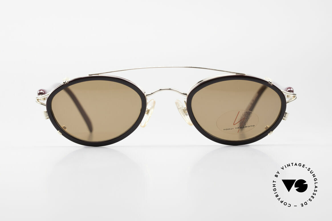 Yohji Yamamoto 51-7210 90er No Retro Clip-On Brille, Designerbrille mit praktischem Sonnenclip (100% UV), Passend für Herren und Damen