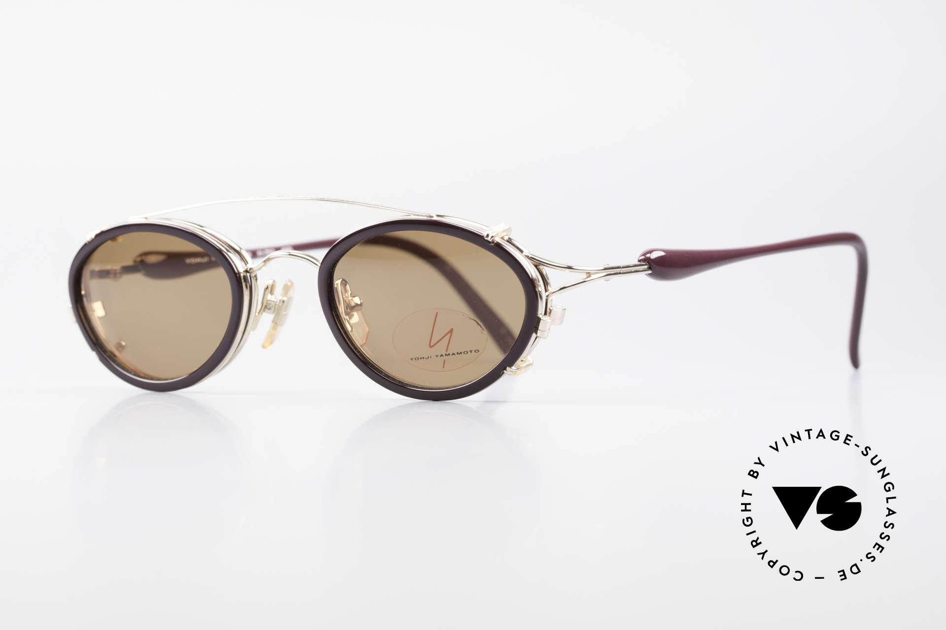 Yohji Yamamoto 51-7210 90er No Retro Clip-On Brille, herausragende Qualität, GP = VERGOLDETER Rahmen, Passend für Herren und Damen