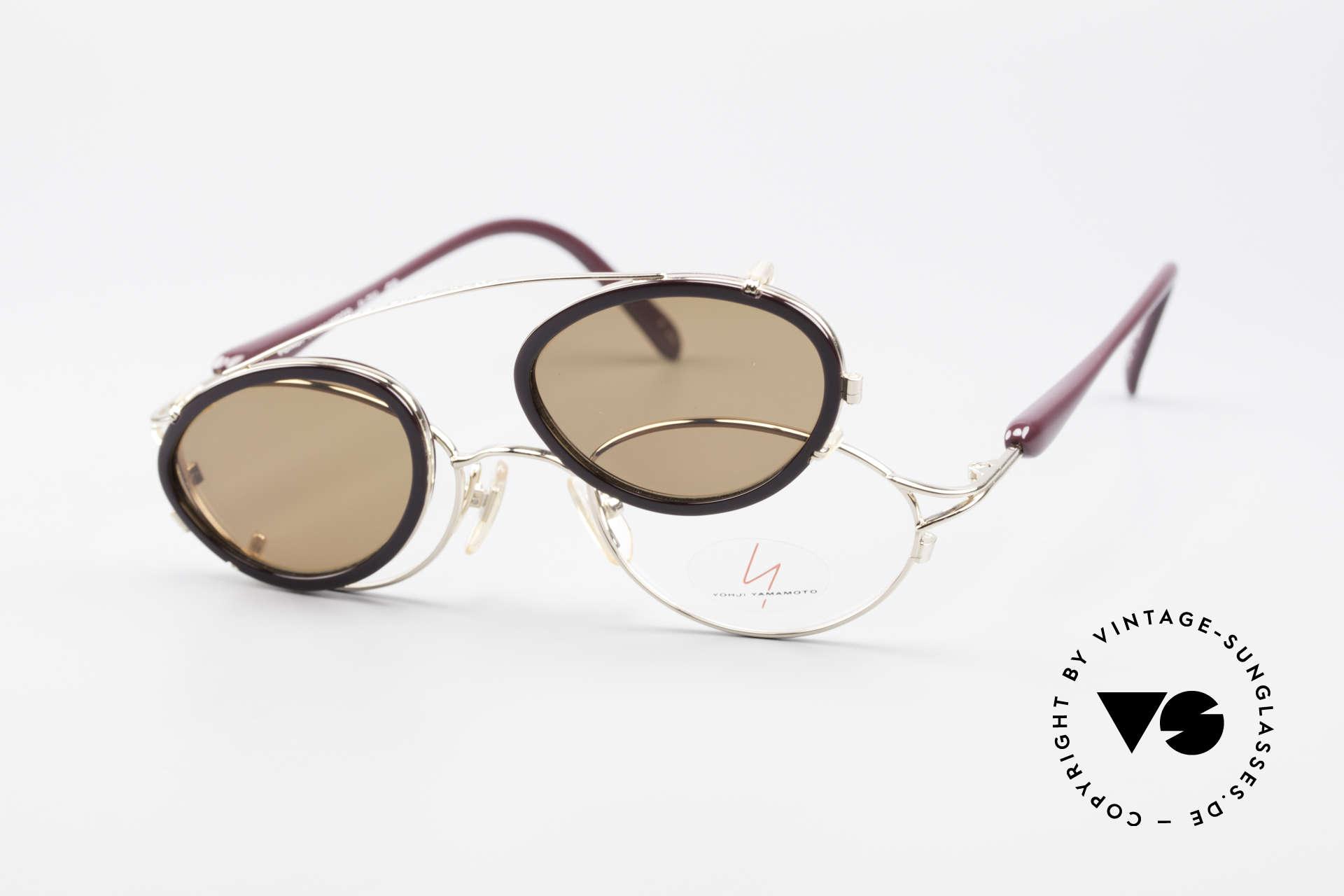 Yohji Yamamoto 51-7210 90er No Retro Clip-On Brille, die Fassung kann natürlich beliebig verglast werden, Passend für Herren und Damen