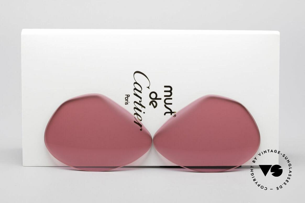 Cartier Vendome Lenses - L Sonnengläser Pink, Ersatzgläser für Cartier Modell Vendome LARGE 62mm, Passend für Herren