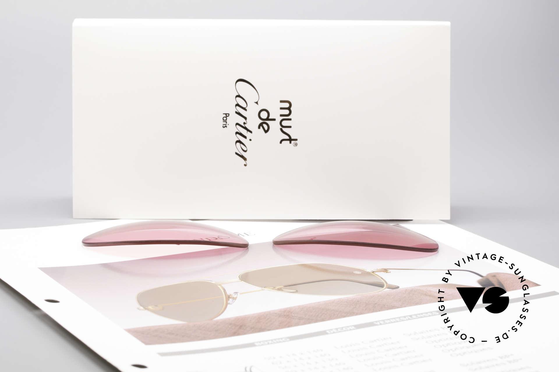 Cartier Vendome Lenses - L Sonnengläser Pink, von unserem Optiker gefertigt: daher neu & kratzerfrei, Passend für Herren