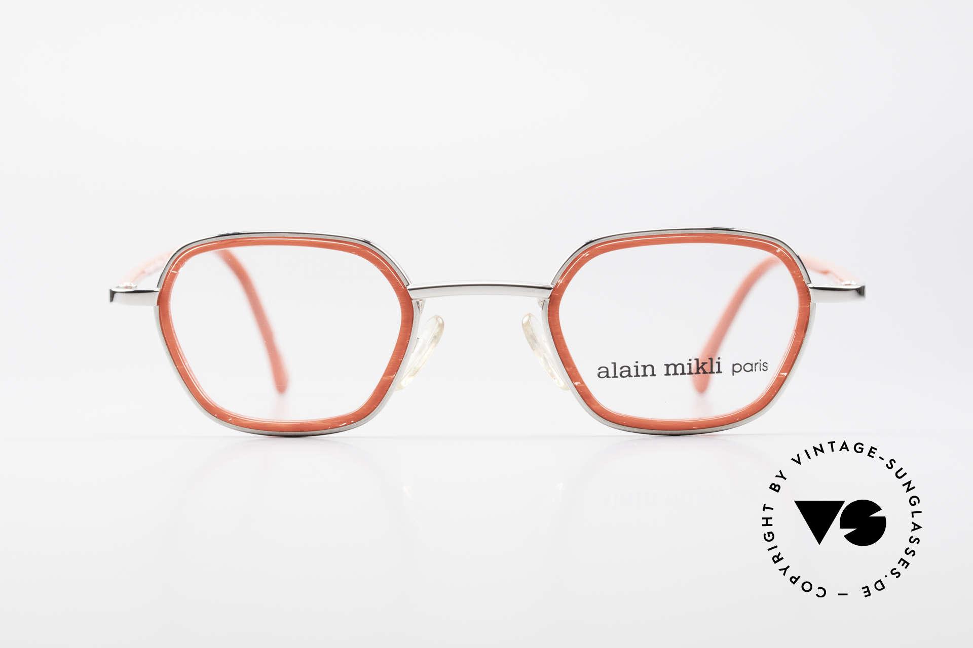 Alain Mikli 1642 / 1006 Vintage Brille In Mikli Rot, tolle Materialkombination und Farb-Komposition, Passend für Damen