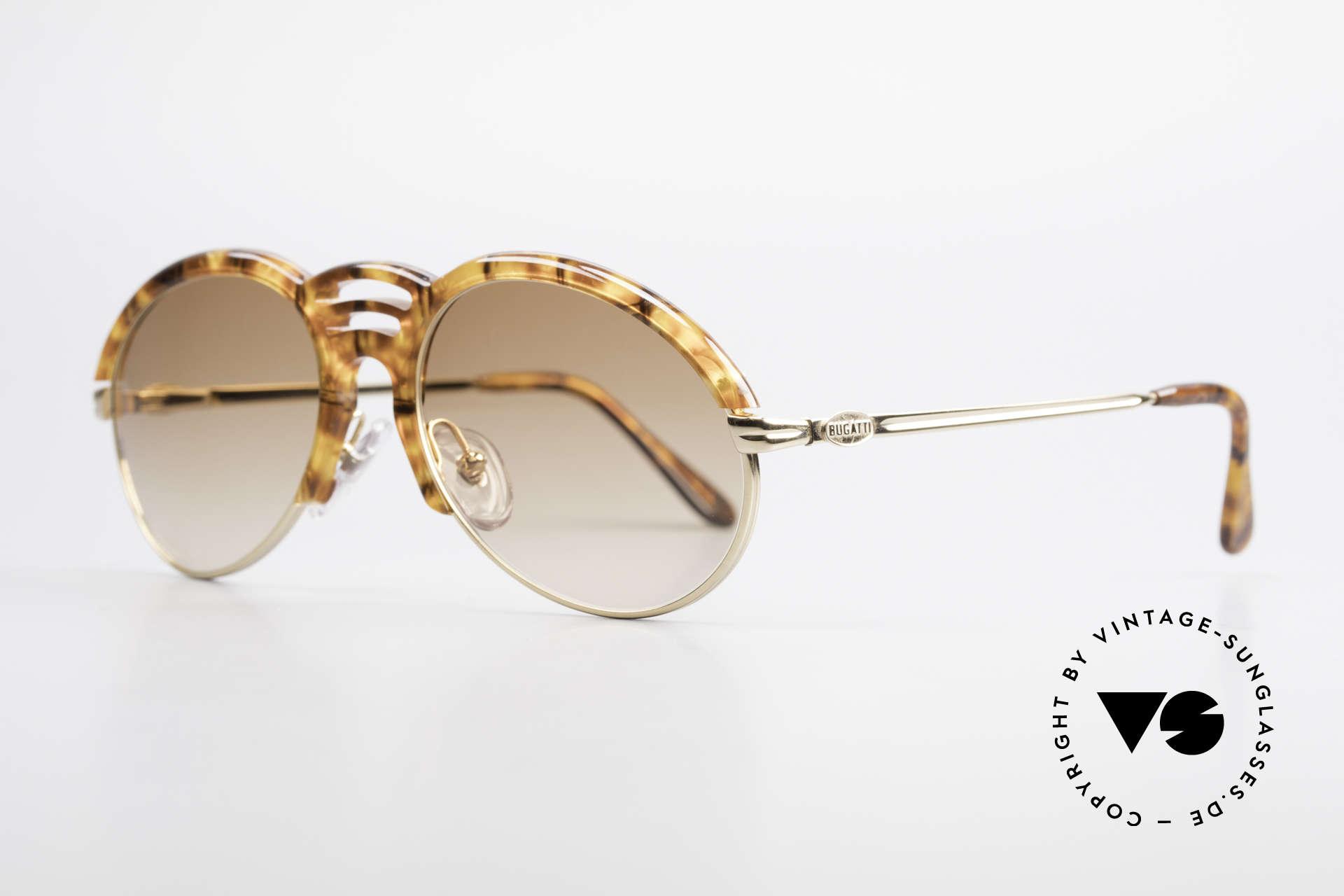 Bugatti 15287 Bernstein Optik Sonnenbrille, vergoldete Fassung in edler Bernstein-Horn-Optik, Passend für Herren