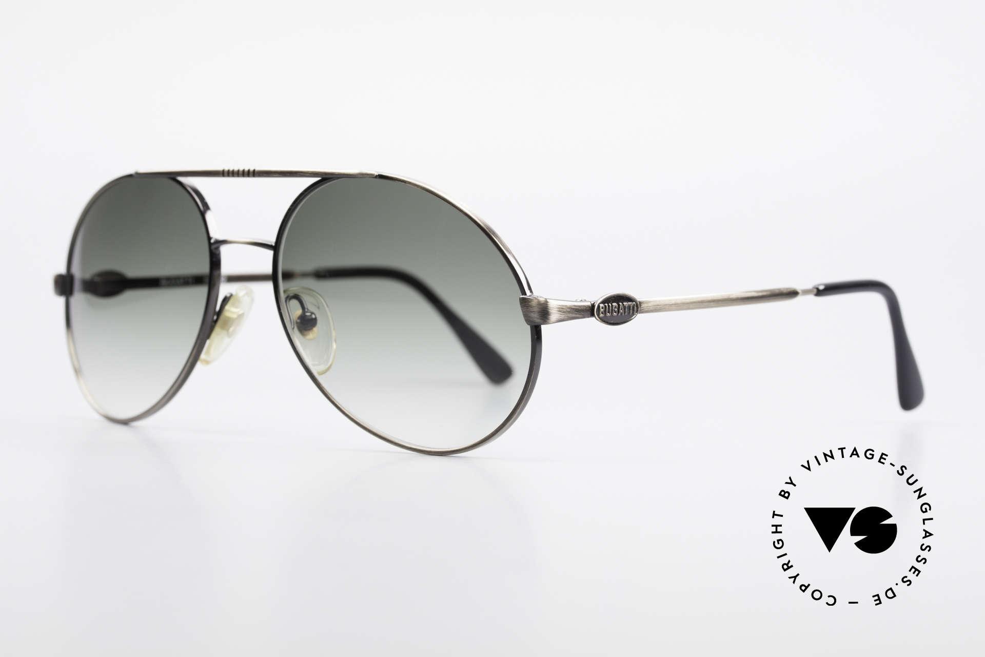 Bugatti 65282 Vintage Herrensonnenbrille, zudem sehr elegante Gläser in einem grünen Verlauf, Passend für Herren