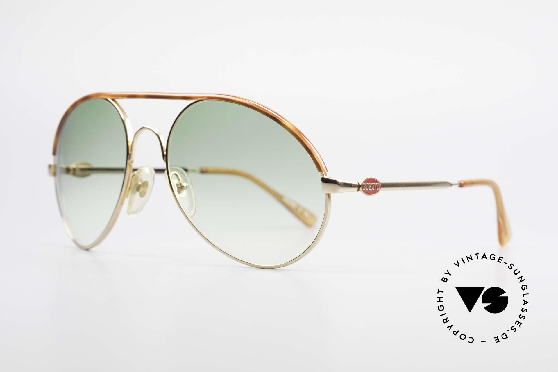 Bugatti 65986 80er Herren XL Sonnenbrille, Mod. 65986 mit Oberrand in Schildpatt-Optik, Passend für Herren