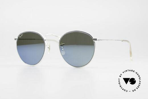 Ray Ban Round Metal 47 Blau Verspiegelte Sonnenbrille Details