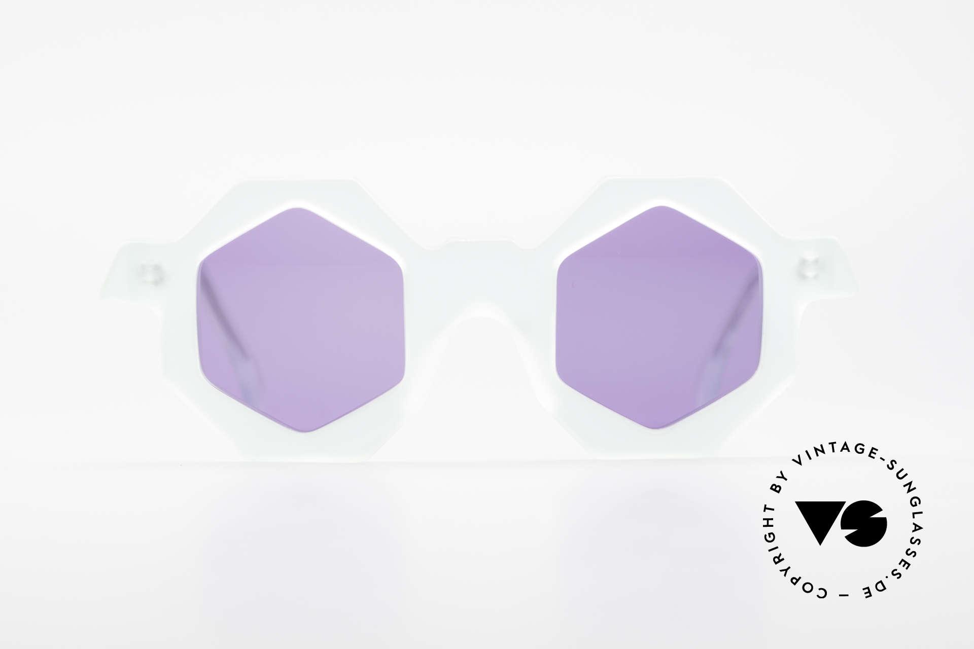 Alain Mikli 0157 / 932 Sechseckige Sonnenbrille 80er, einzigartige hexagonale (sechseckige) Fassung, Passend für Damen