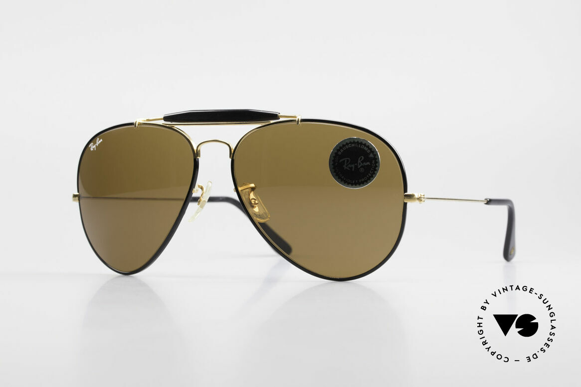 Ray Ban Outdoorsman II Precious Metals USA Ray Ban, klassische vintage B&L Ray-Ban Piloten-Sonnenbrille, Passend für Herren