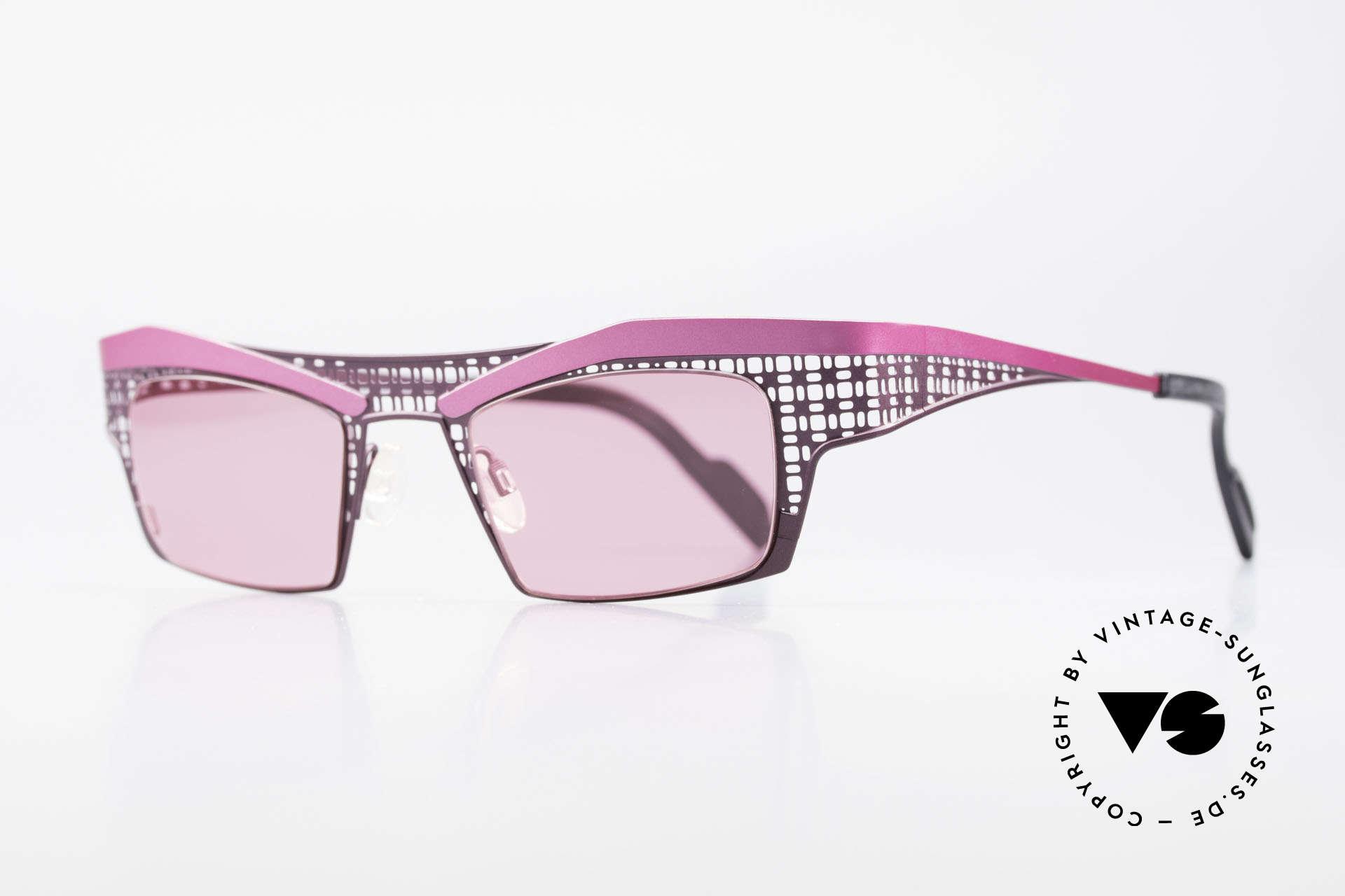 Theo Belgium Eye-Witness TA Avantgarde Sonnenbrille Pink, damals gemacht für die 'Avantgarde' und Individualisten, Passend für Damen