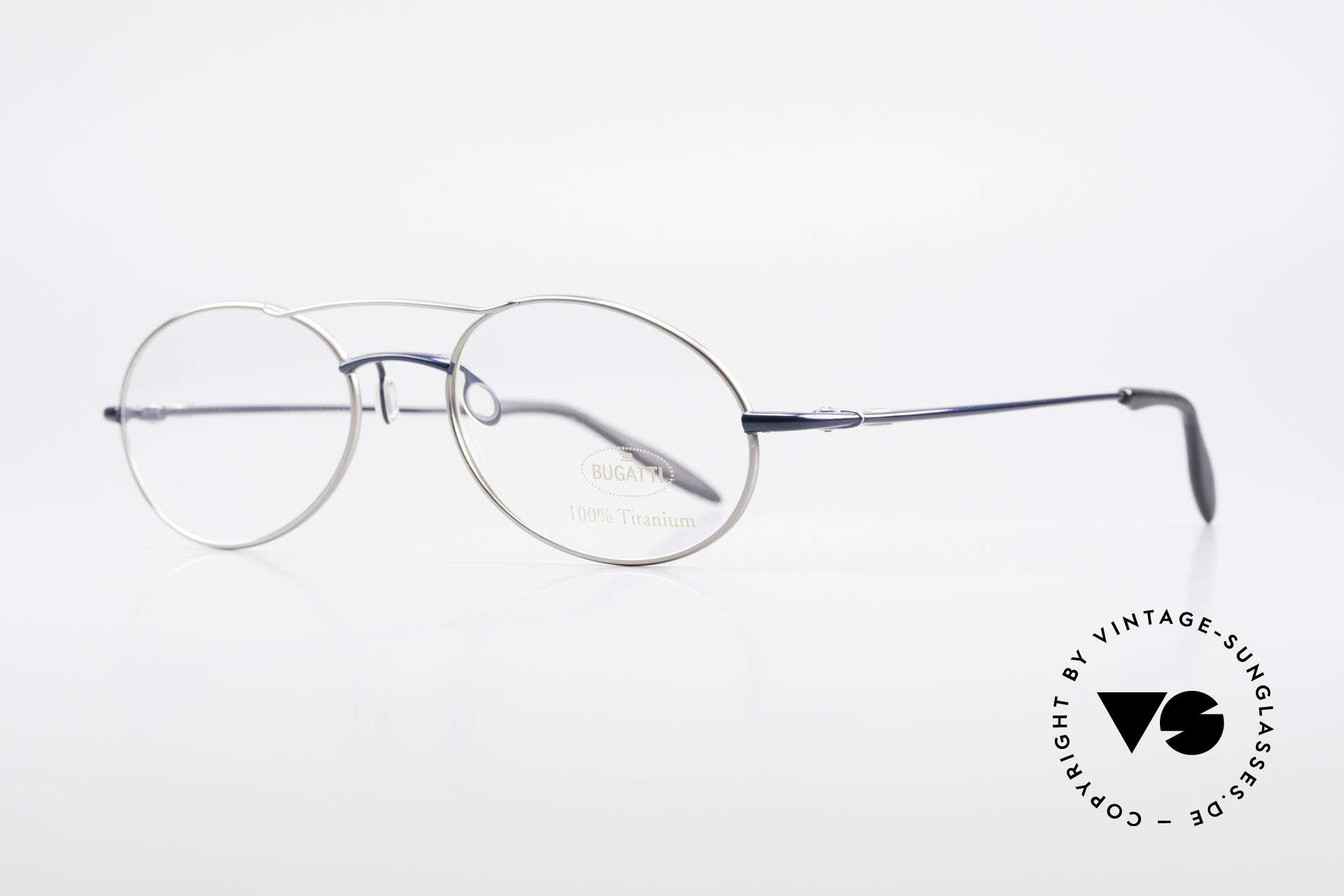 Bugatti 19239 Titanium Luxus Brillenfassung, ergonomische Bügelform für höchsten Tragekomfort, Passend für Herren
