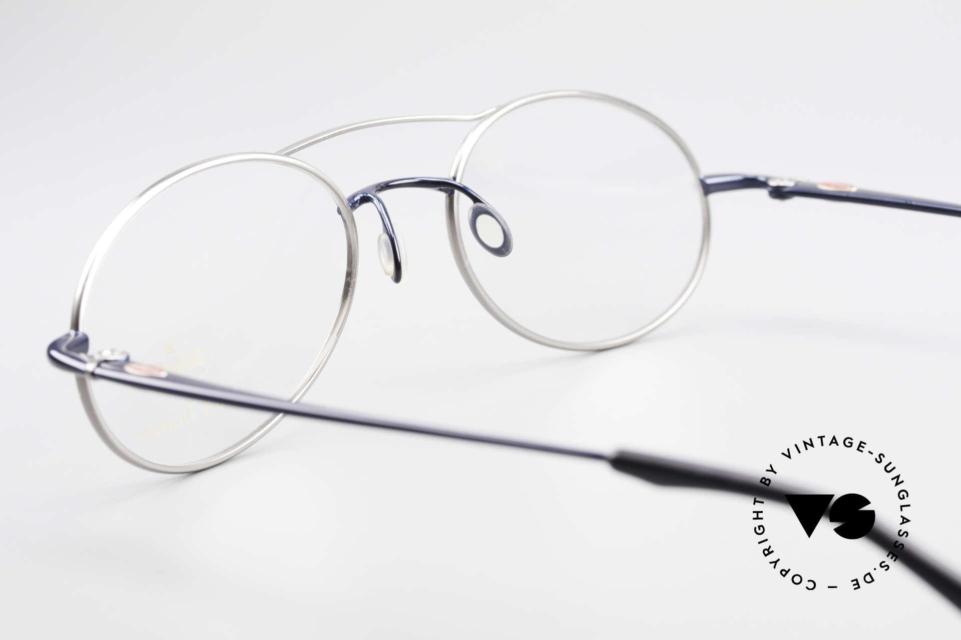 Bugatti 19239 Titanium Luxus Brillenfassung, KEIN RETRO; ein kostbares Original in tiefblau / titan, Passend für Herren