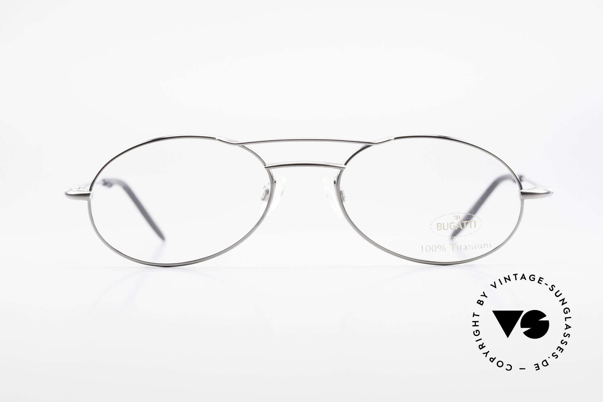 Bugatti 18861 Titanium Herren Brillenfassung, herausragende Verarbeitungsqualität (wiegt nur 15g), Passend für Herren