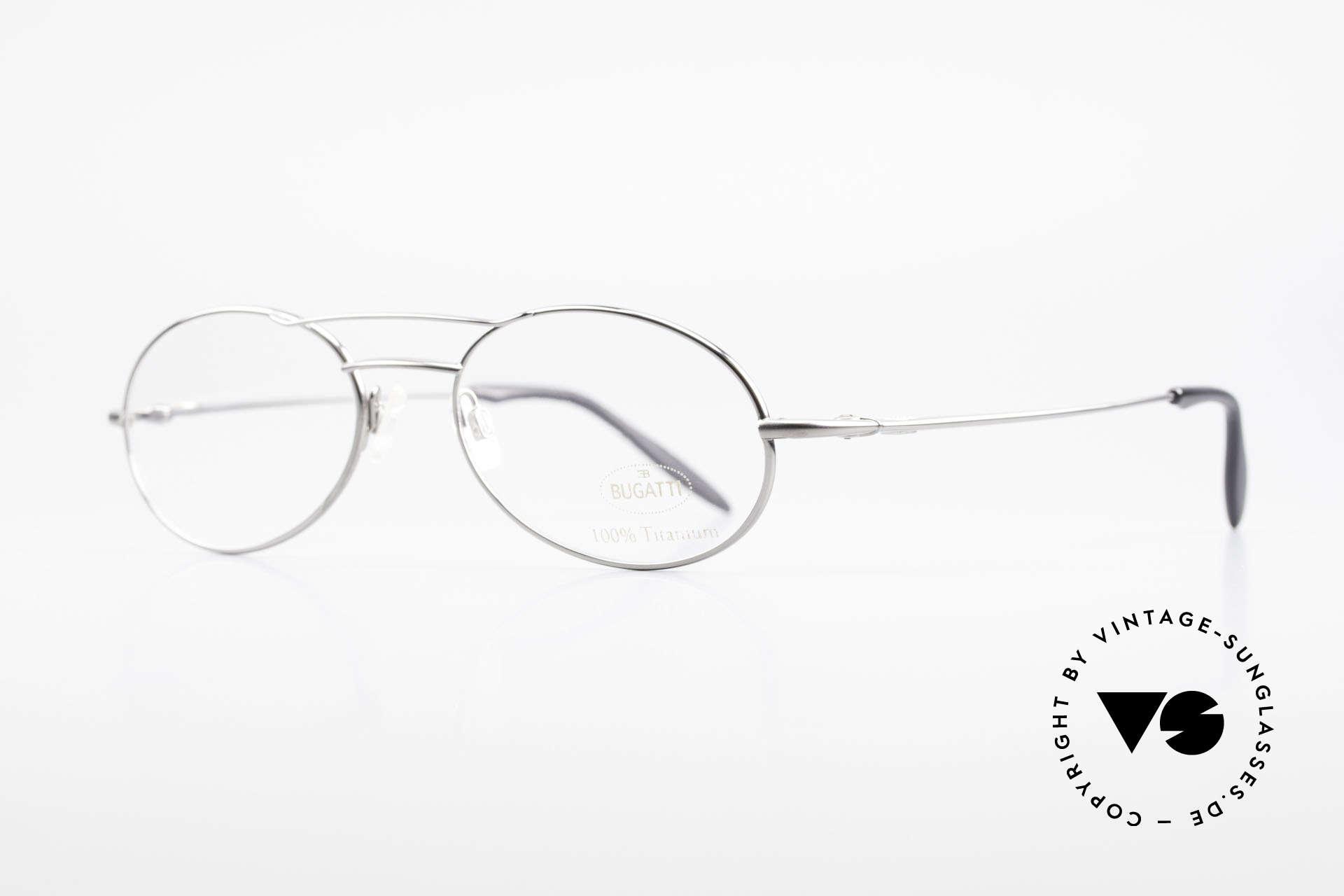 Bugatti 18861 Titanium Herren Brillenfassung, ergonomische Bügelform für höchsten Tragekomfort, Passend für Herren