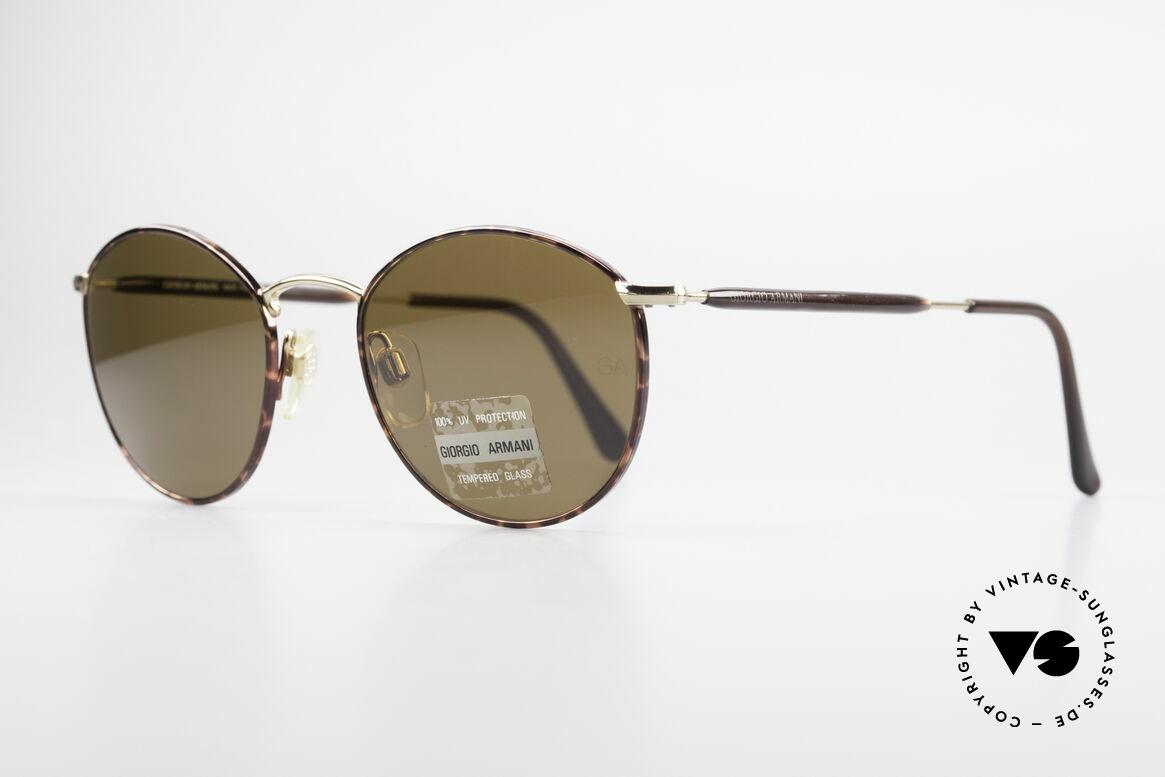Giorgio Armani 627 Vintage Panto Sonnenbrille, TOP-Qualität und zeitlose braun/gold Lackierung, Passend für Herren und Damen