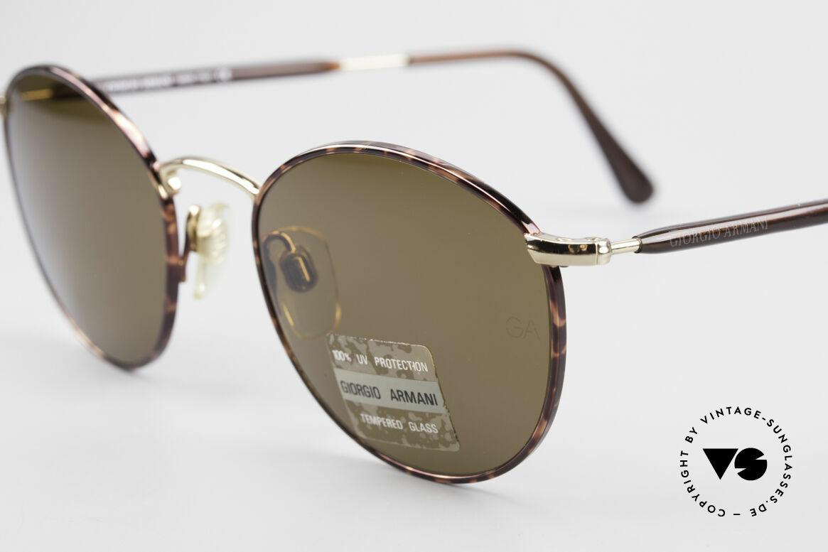 Giorgio Armani 627 Vintage Panto Sonnenbrille, high-end Mineralgläser (100% UV) mit GA-Gravur, Passend für Herren und Damen