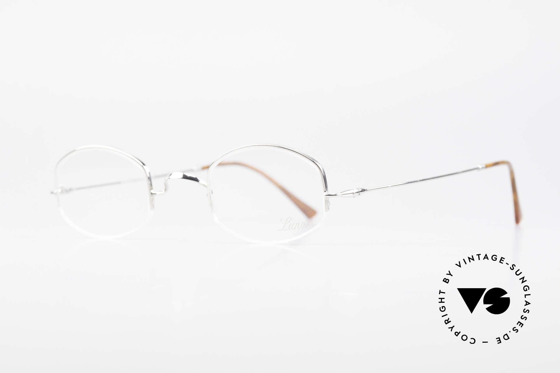 Lunor String Halb Randlose Vintage Brille, Brillendesign in Anlehnung an frühere Jahrhunderte, Passend für Herren und Damen