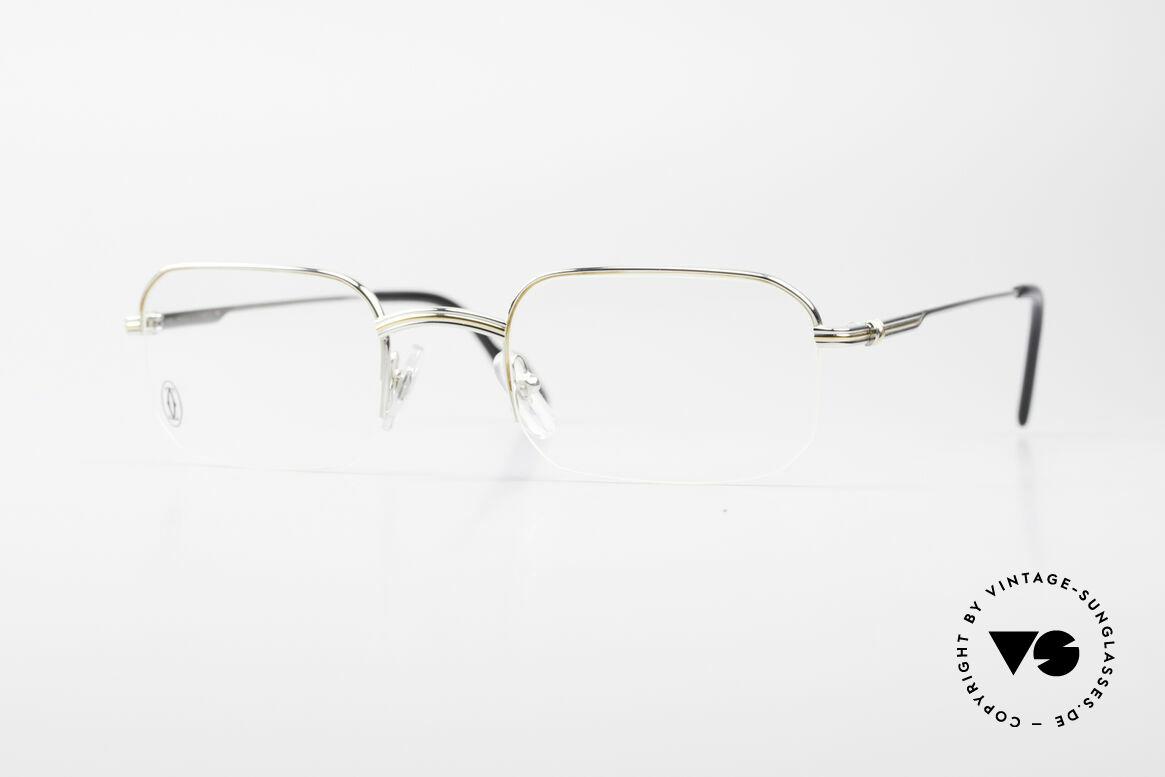Cartier Broadway Halb Randlose Brille Platin, eckige CARTIER Brillenfassung in Größe 51/23, 140, Passend für Herren