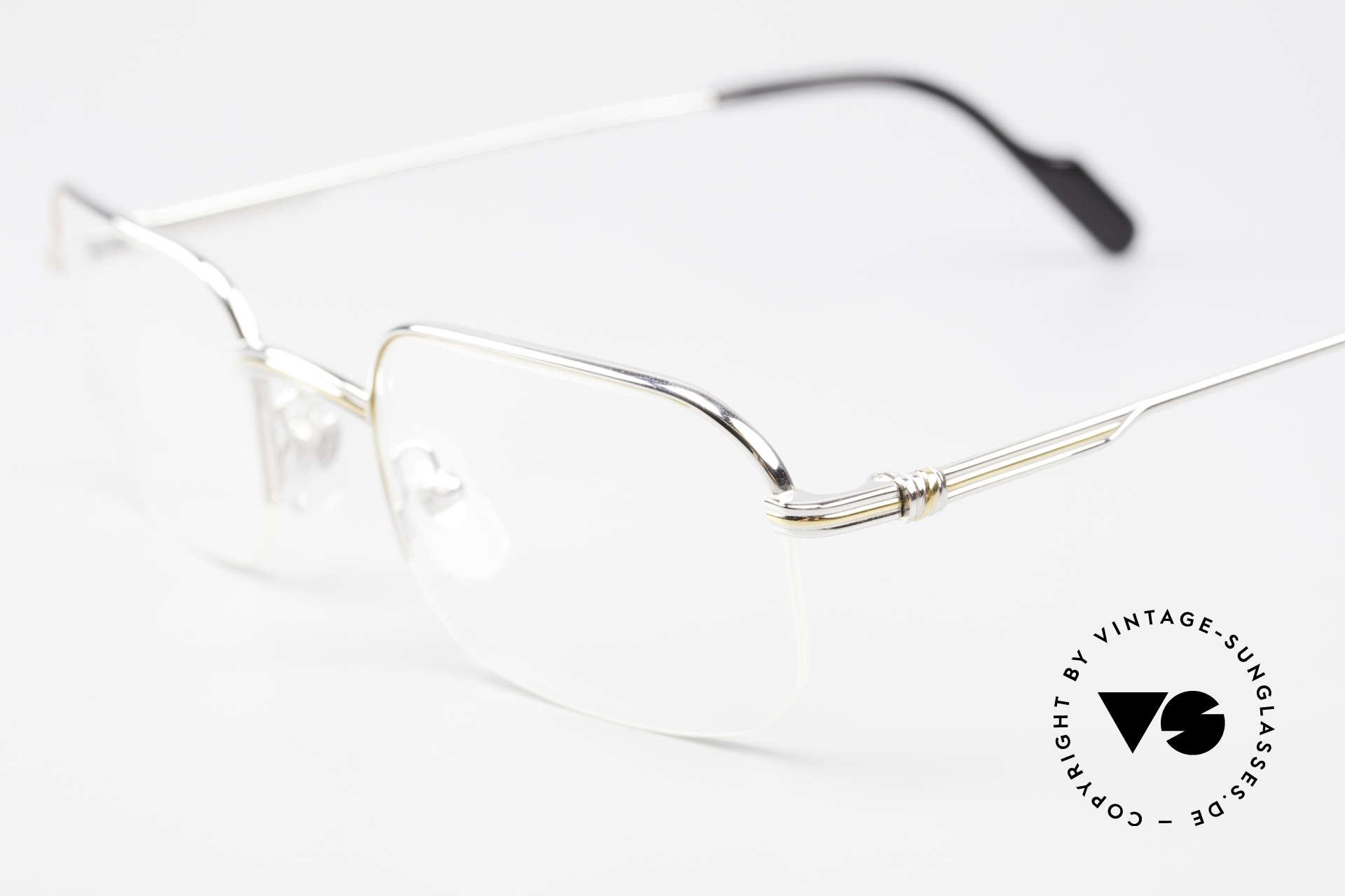 Cartier Broadway Halb Randlose Brille Platin, ungetragene Luxusbrille mit orig. Box und Booklets, Passend für Herren