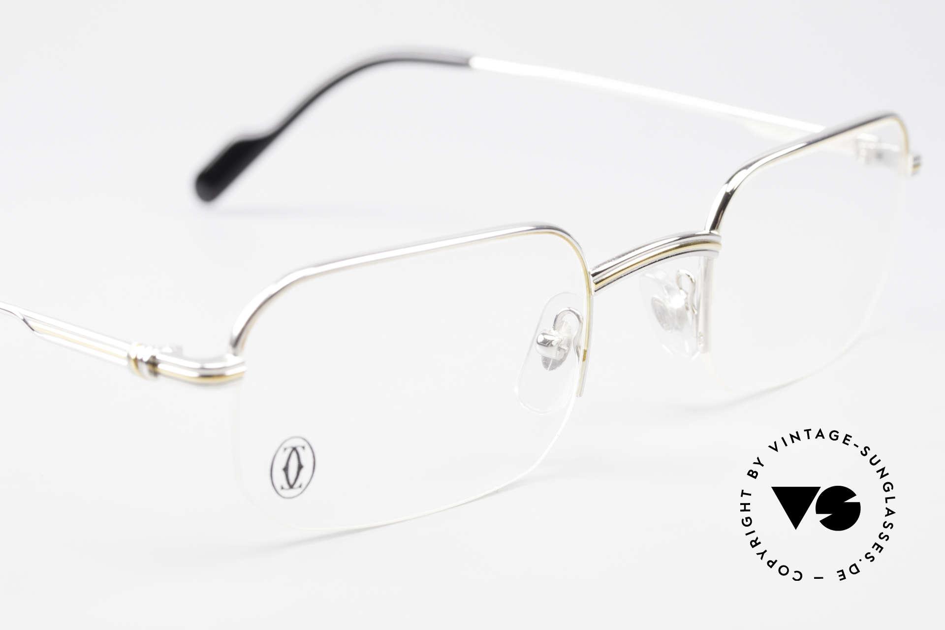 Cartier Broadway Halb Randlose Brille Platin, zusätzlich mit einem vintage Leder-Etui von GENTA, Passend für Herren