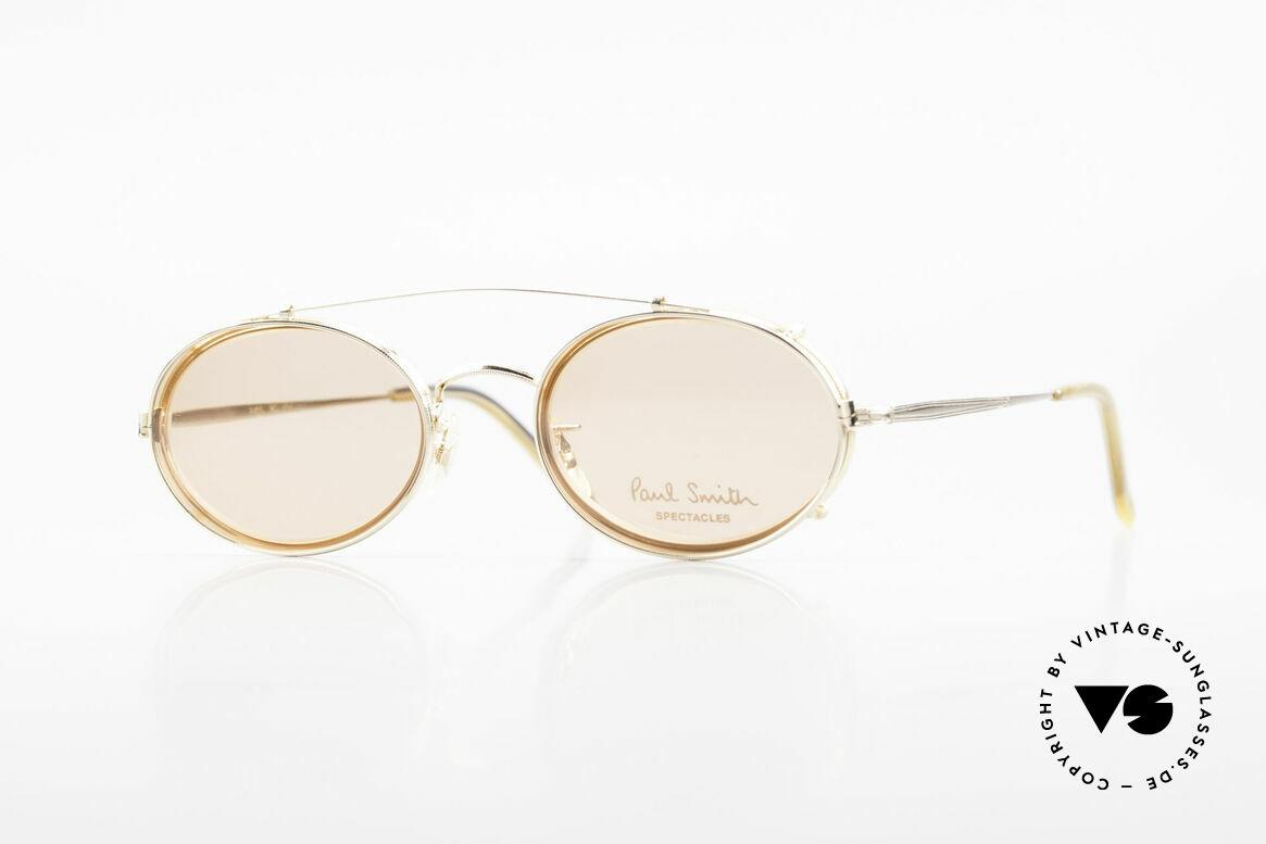 Paul Smith PSR108 Ovale Vintage Brille Mit Clip, Paul Smith vintage Brille der späten 80er / frühe 90er, Passend für Herren und Damen